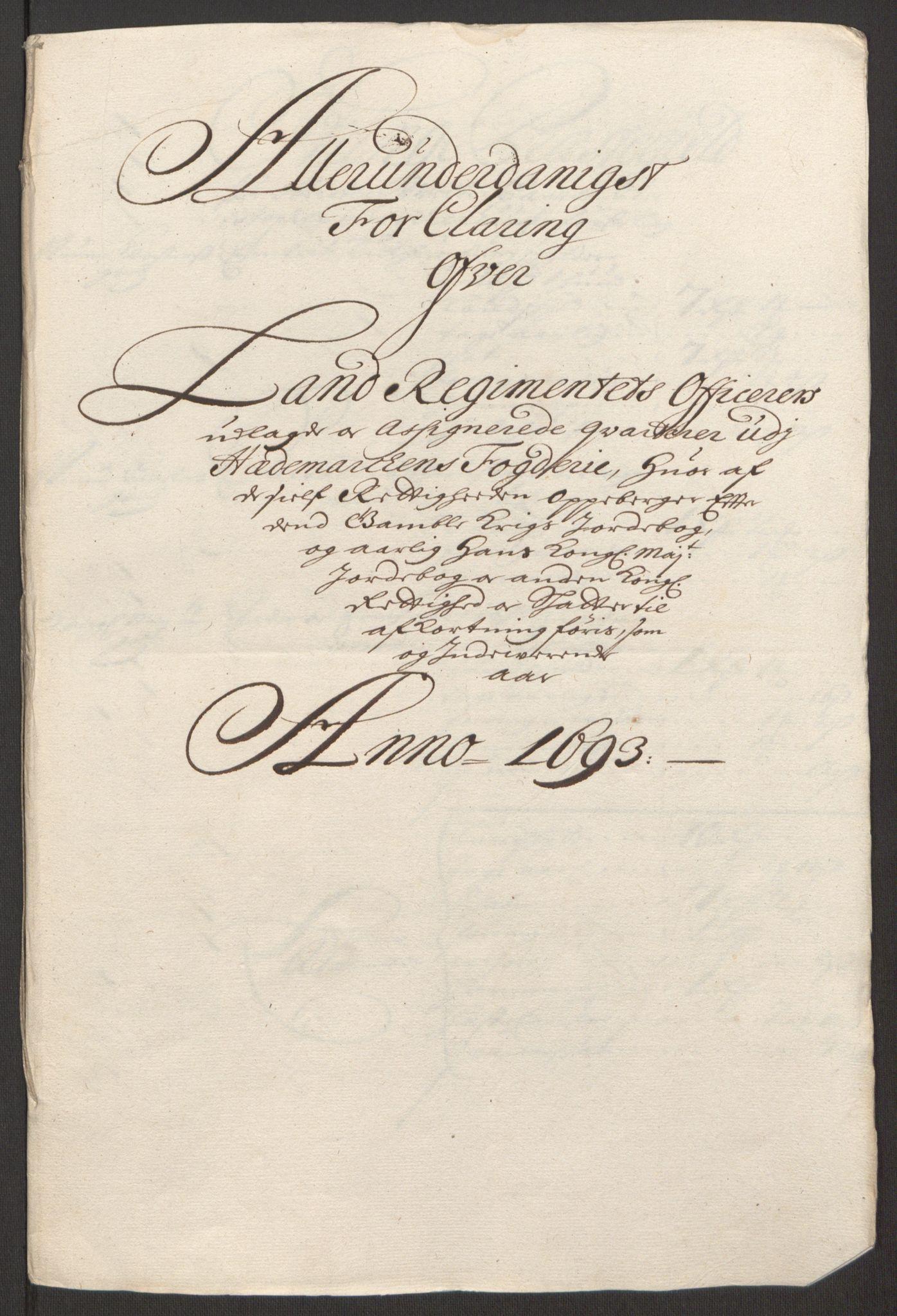RA, Rentekammeret inntil 1814, Reviderte regnskaper, Fogderegnskap, R16/L1034: Fogderegnskap Hedmark, 1693, s. 154