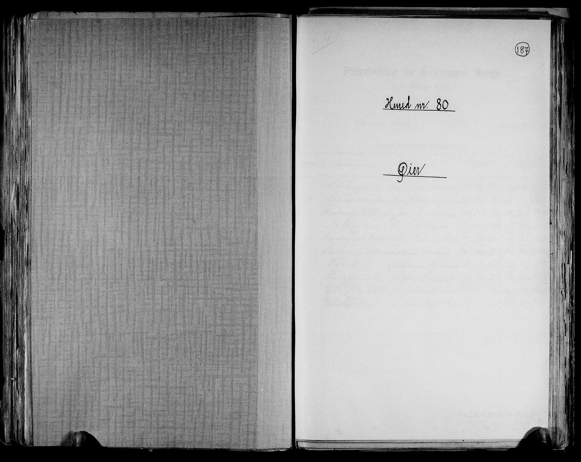 RA, Folketelling 1891 for 0521 Øyer herred, 1891, s. 1