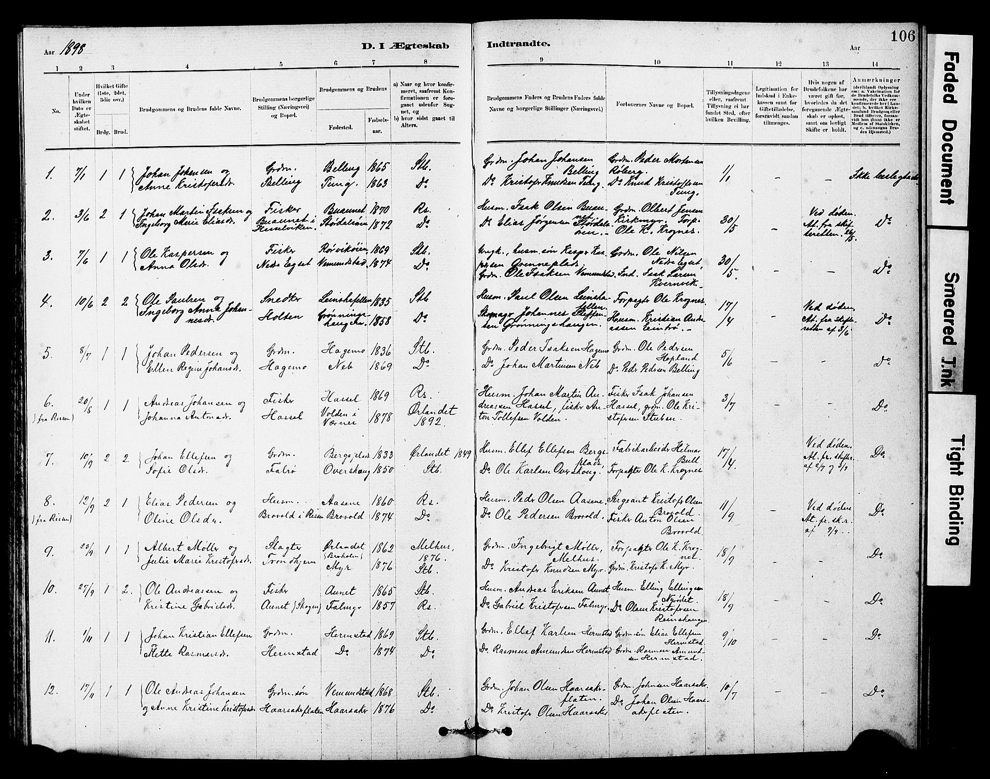 SAT, Ministerialprotokoller, klokkerbøker og fødselsregistre - Sør-Trøndelag, 646/L0628: Klokkerbok nr. 646C01, 1880-1903, s. 106