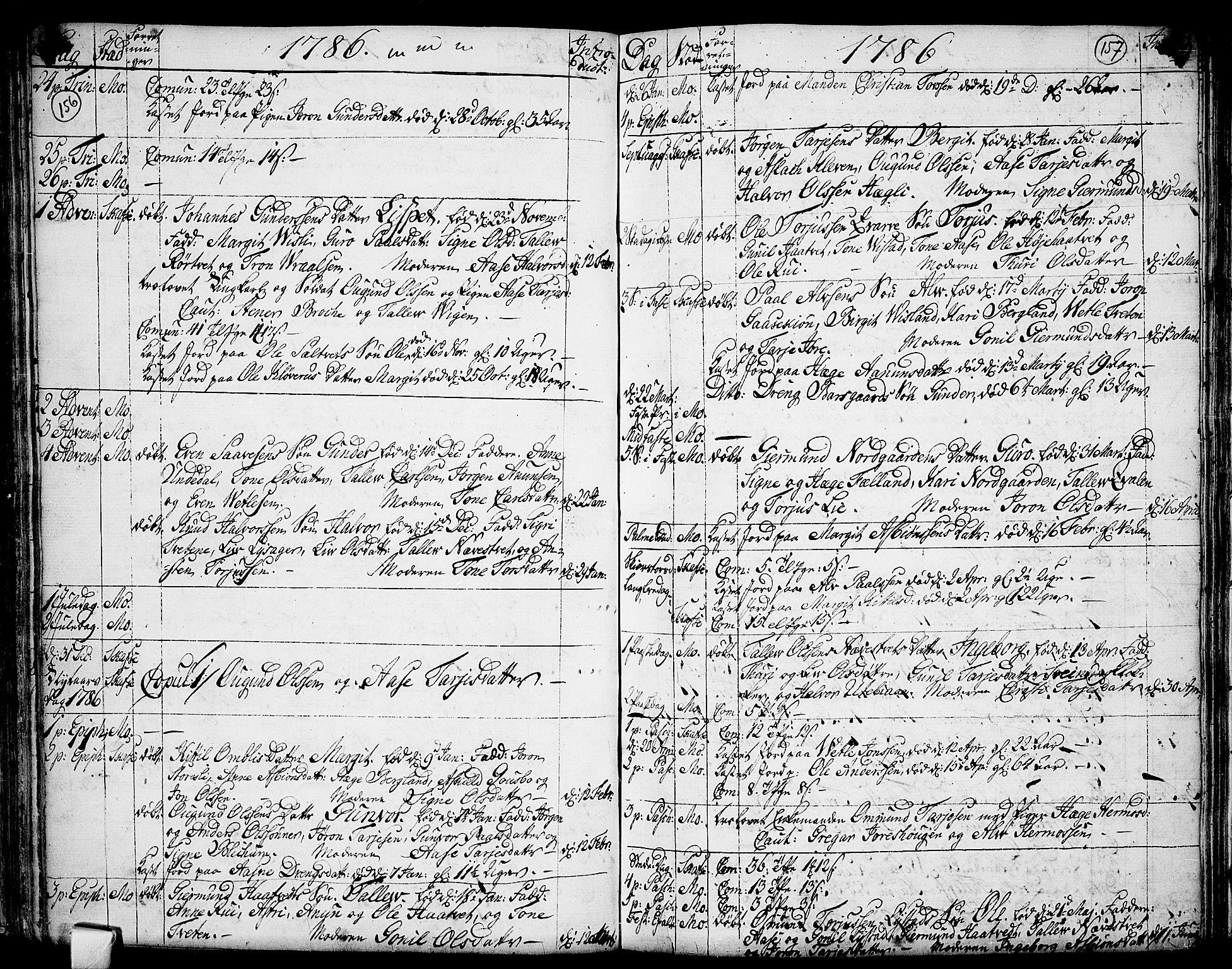 SAKO, Mo kirkebøker, F/Fa/L0002: Ministerialbok nr. I 2, 1766-1799, s. 156-157