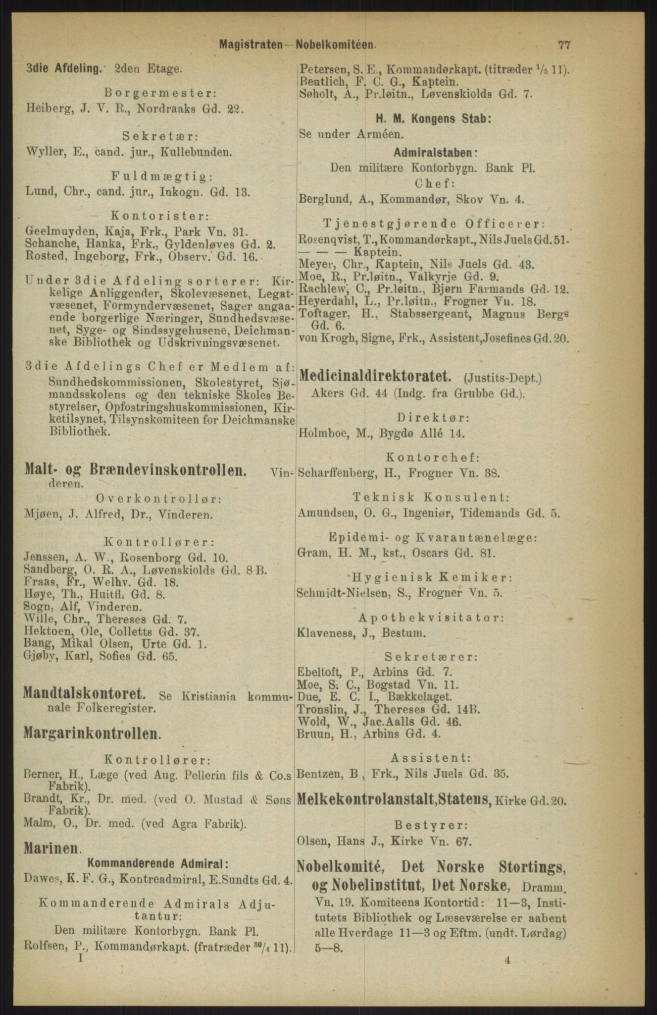 RA, Kristiania adressebok (publikasjon)*, 1911, s. 77