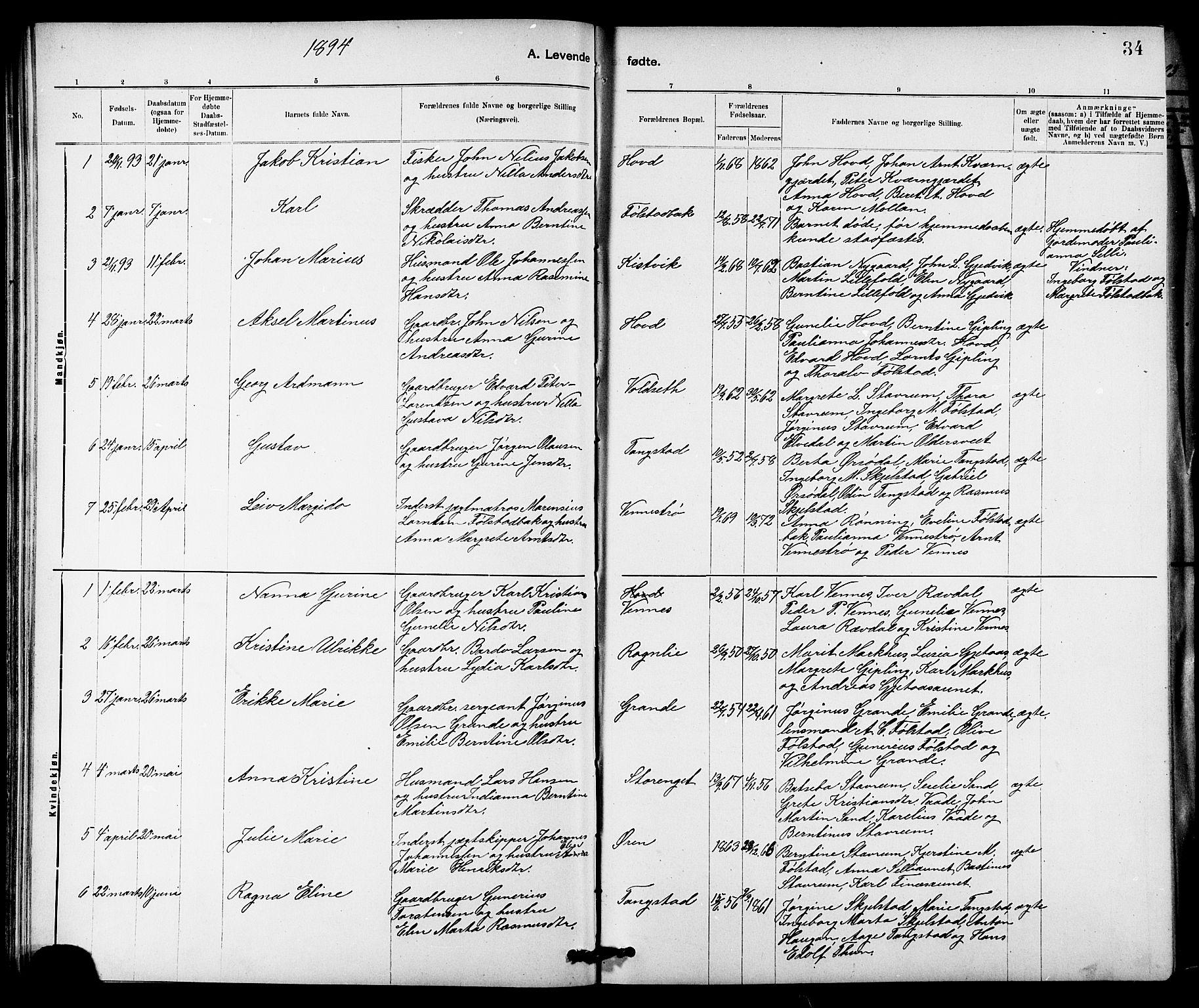 SAT, Ministerialprotokoller, klokkerbøker og fødselsregistre - Nord-Trøndelag, 744/L0423: Klokkerbok nr. 744C02, 1886-1905, s. 34