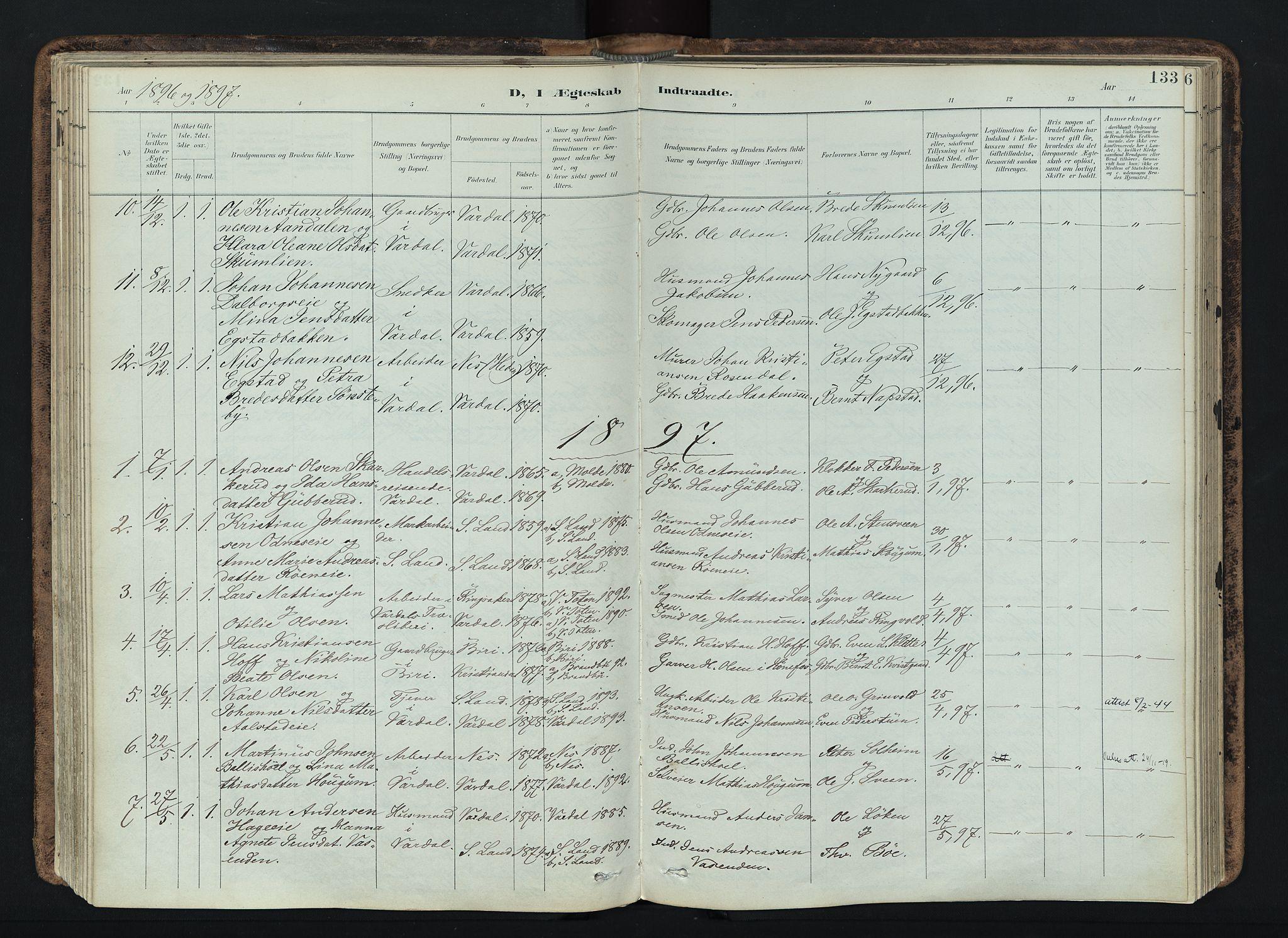 SAH, Vardal prestekontor, H/Ha/Haa/L0019: Ministerialbok nr. 19, 1893-1907, s. 133