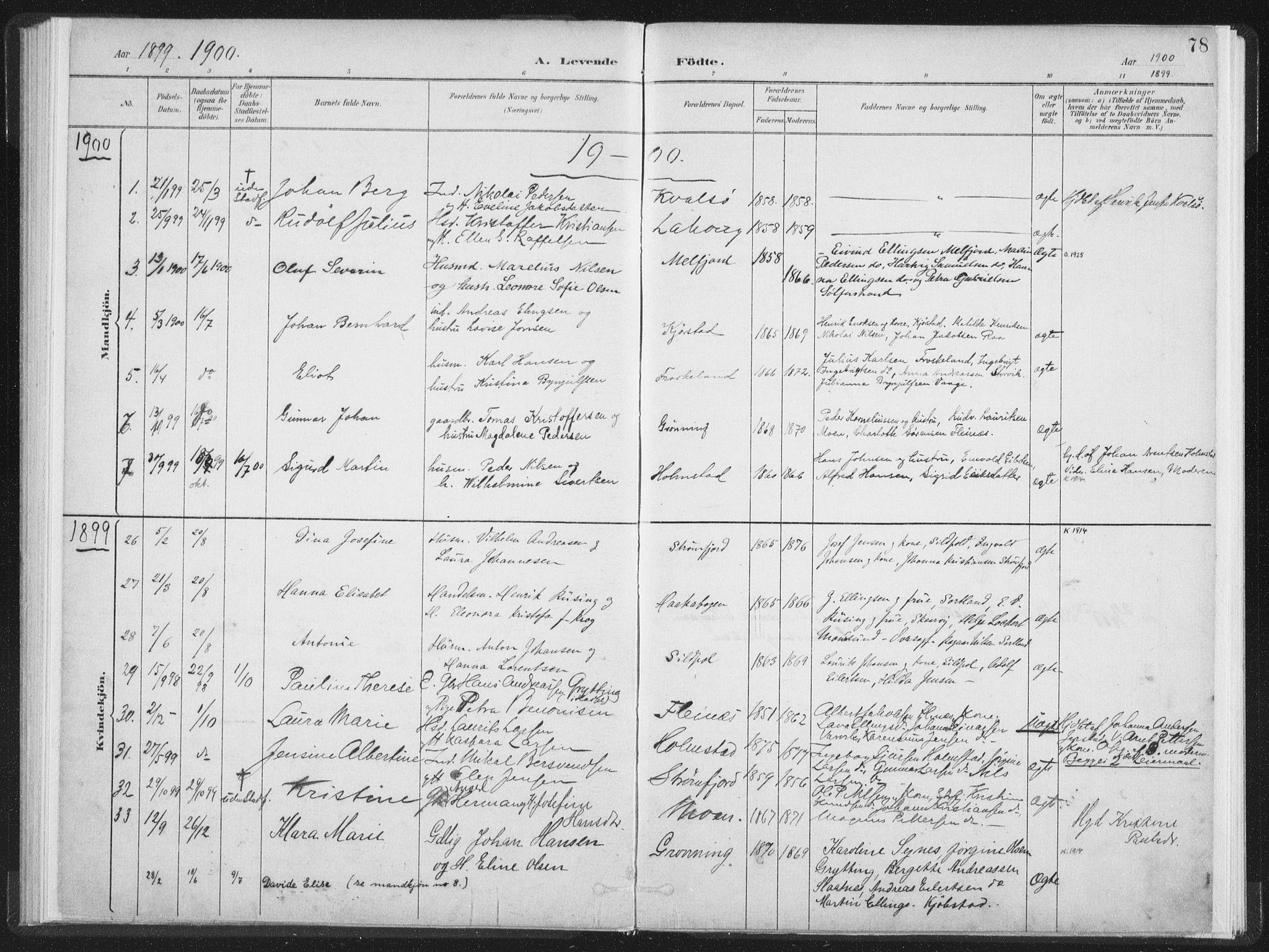 SAT, Ministerialprotokoller, klokkerbøker og fødselsregistre - Nordland, 890/L1286: Ministerialbok nr. 890A01, 1882-1902, s. 78
