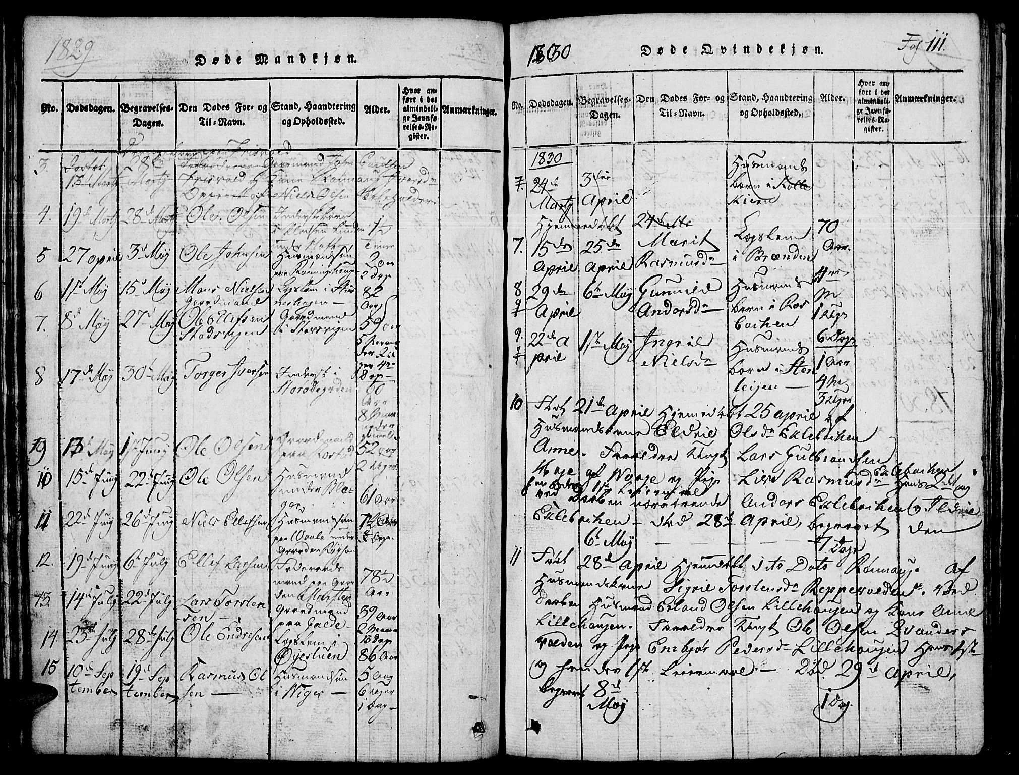 SAH, Lom prestekontor, L/L0001: Klokkerbok nr. 1, 1815-1836, s. 111