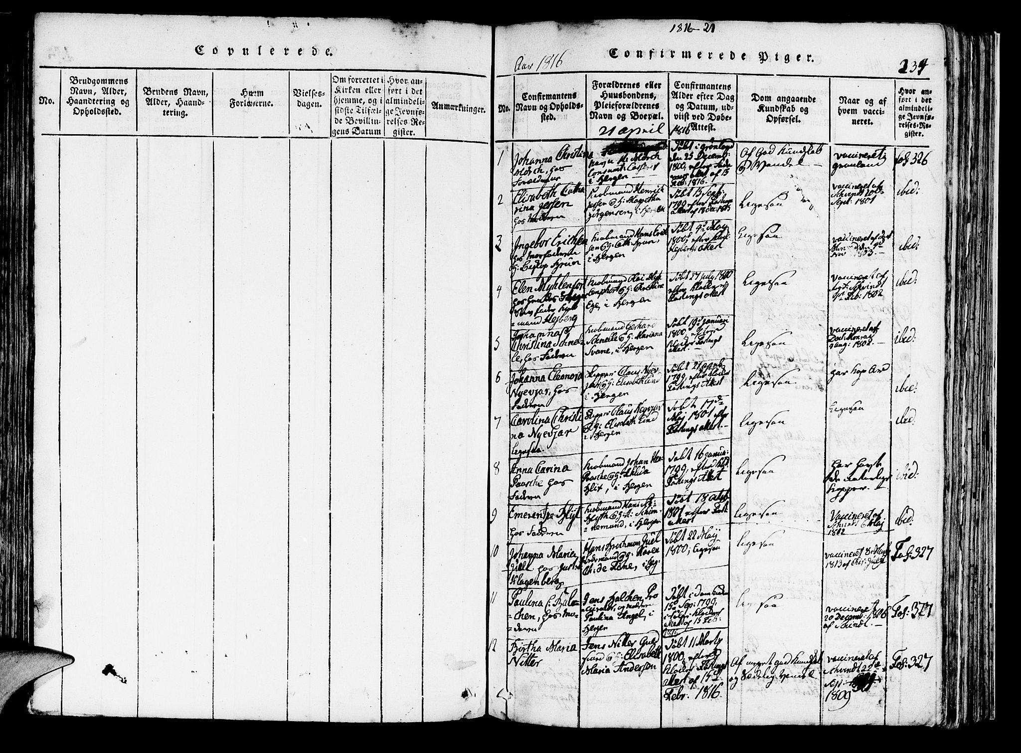 SAB, Domkirken Sokneprestembete, H/Haa/L0010: Ministerialbok nr. A 10, 1816-1821, s. 234