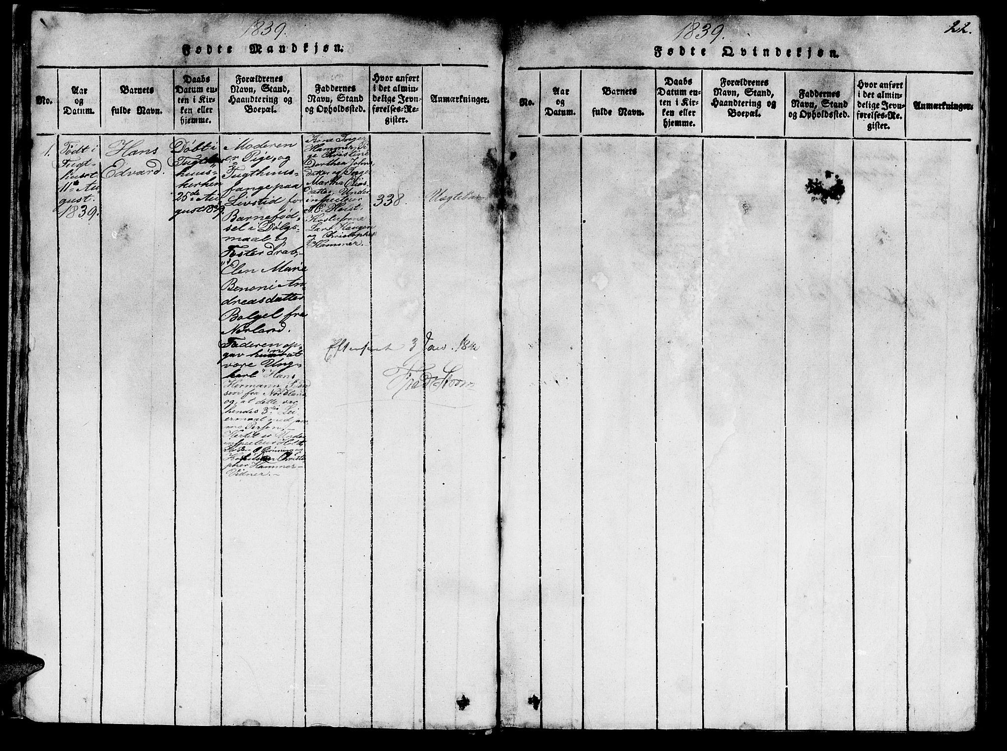 SAT, Ministerialprotokoller, klokkerbøker og fødselsregistre - Sør-Trøndelag, 623/L0478: Klokkerbok nr. 623C01, 1815-1873, s. 22