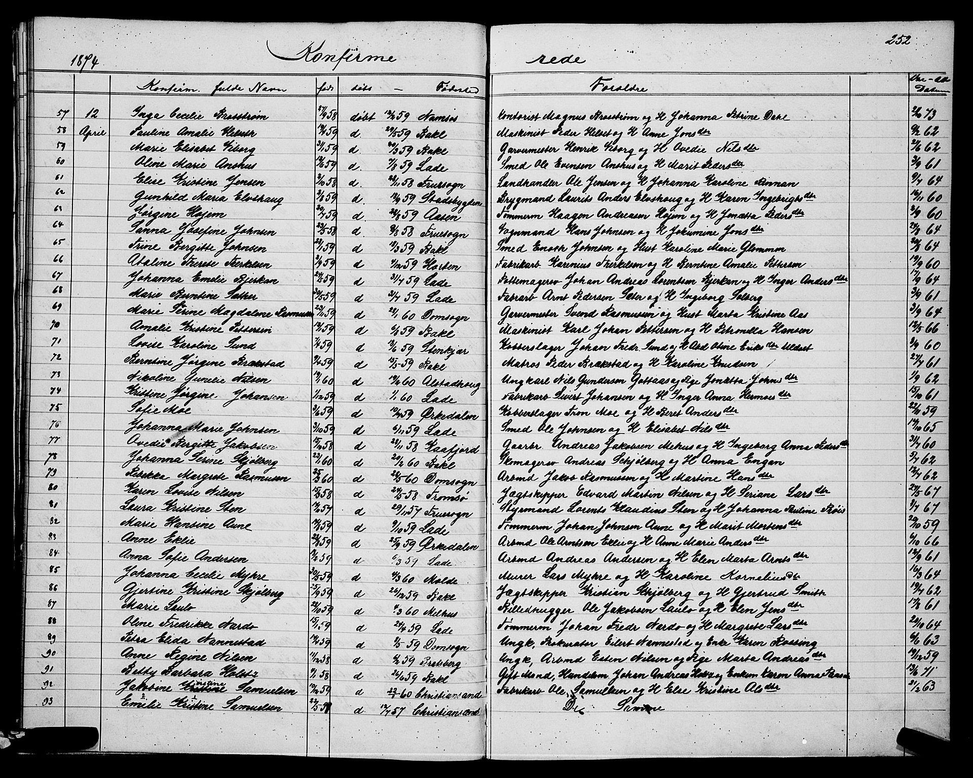 SAT, Ministerialprotokoller, klokkerbøker og fødselsregistre - Sør-Trøndelag, 604/L0220: Klokkerbok nr. 604C03, 1870-1885, s. 252