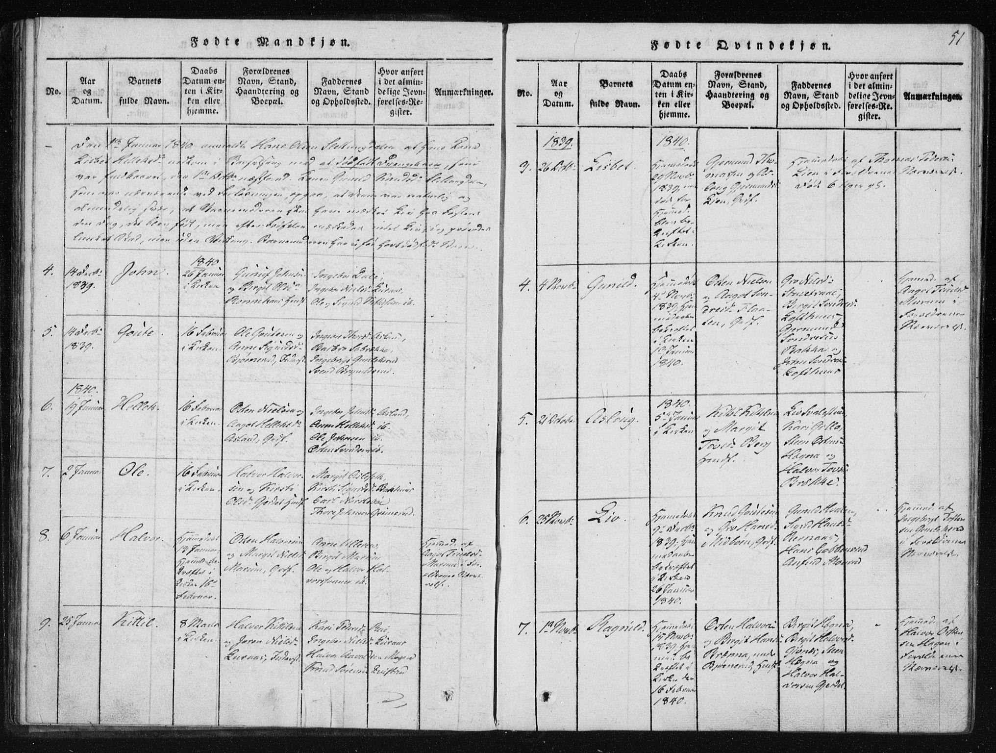 SAKO, Tinn kirkebøker, F/Fb/L0001: Ministerialbok nr. II 1, 1815-1843, s. 51