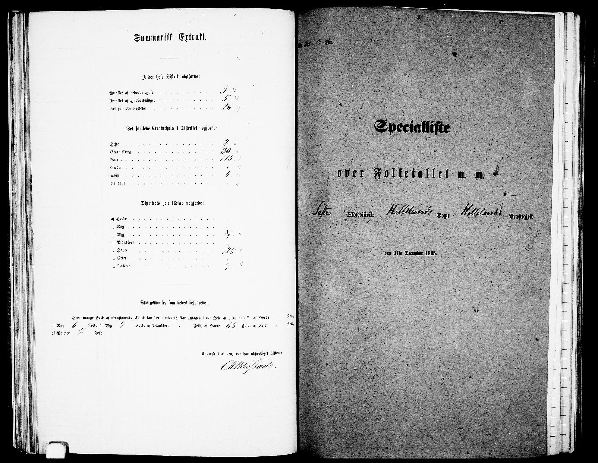 RA, Folketelling 1865 for 1115P Helleland prestegjeld, 1865, s. 40