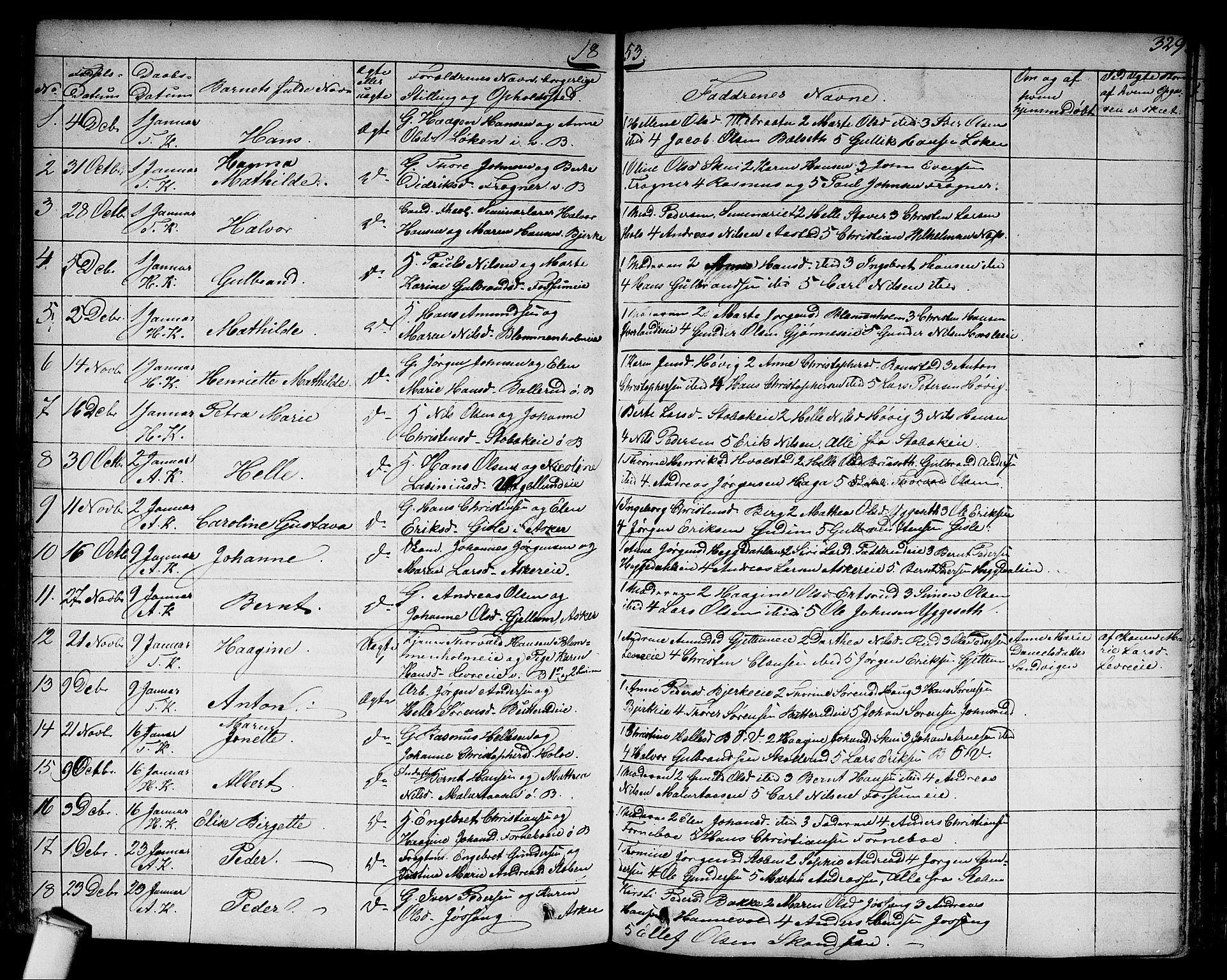 SAO, Asker prestekontor Kirkebøker, F/Fa/L0007: Ministerialbok nr. I 7, 1825-1864, s. 329