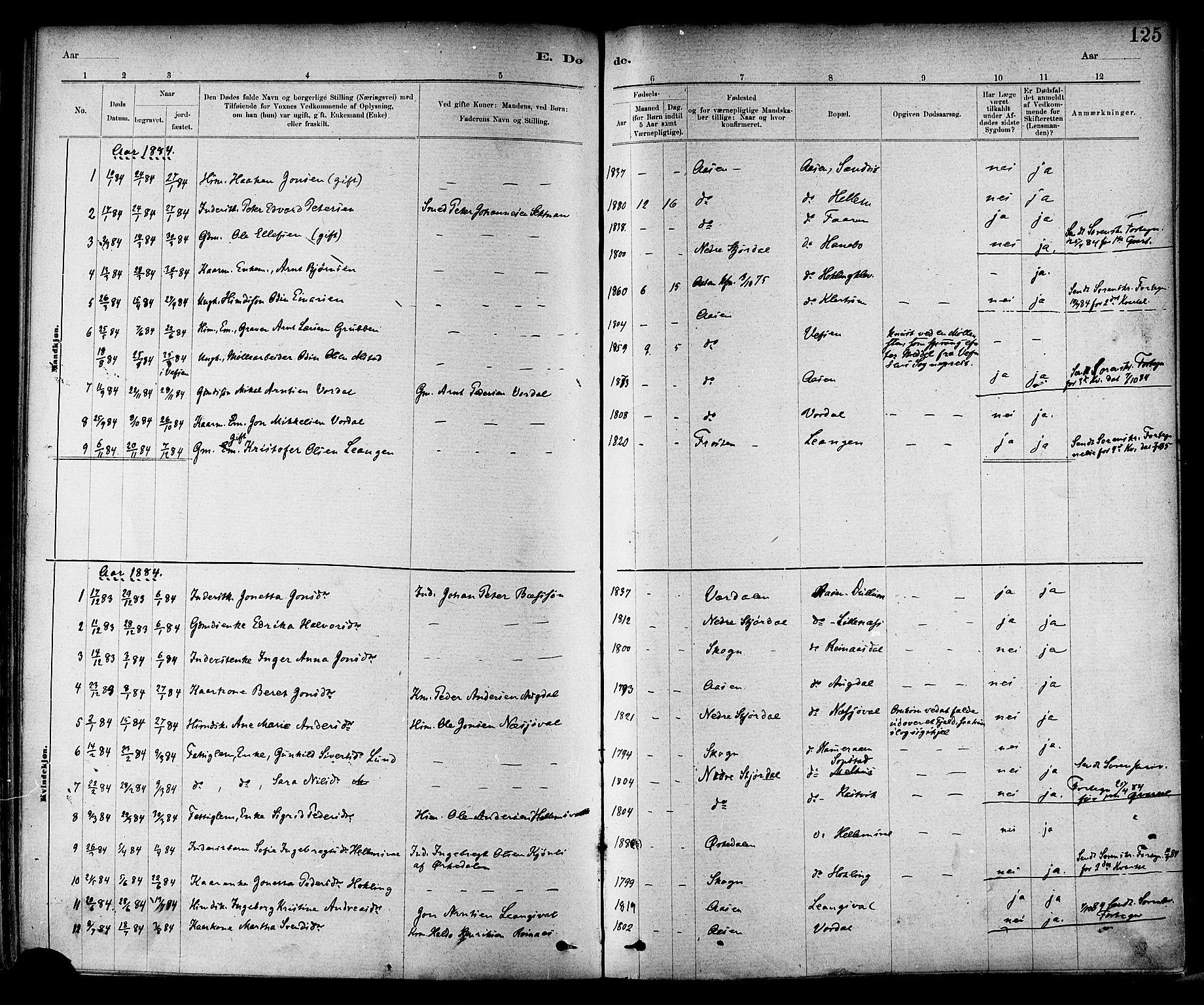 SAT, Ministerialprotokoller, klokkerbøker og fødselsregistre - Nord-Trøndelag, 714/L0130: Ministerialbok nr. 714A01, 1878-1895, s. 125