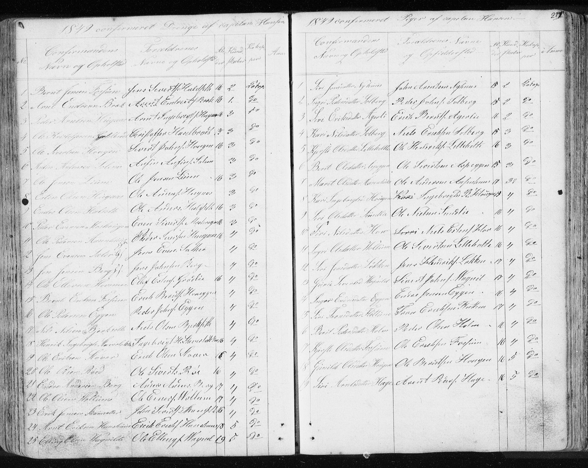 SAT, Ministerialprotokoller, klokkerbøker og fødselsregistre - Sør-Trøndelag, 689/L1043: Klokkerbok nr. 689C02, 1816-1892, s. 271