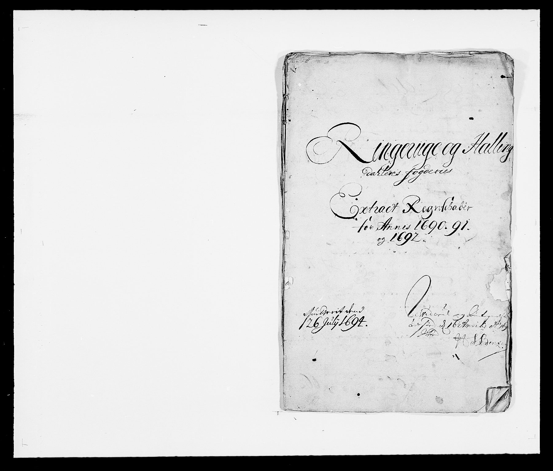 RA, Rentekammeret inntil 1814, Reviderte regnskaper, Fogderegnskap, R21/L1448: Fogderegnskap Ringerike og Hallingdal, 1690-1692, s. 1