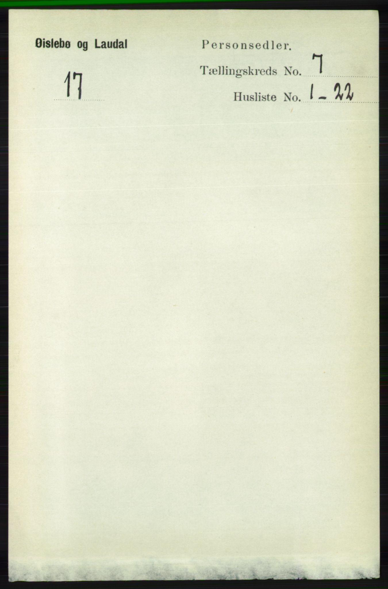 RA, Folketelling 1891 for 1021 Øyslebø og Laudal herred, 1891, s. 1927