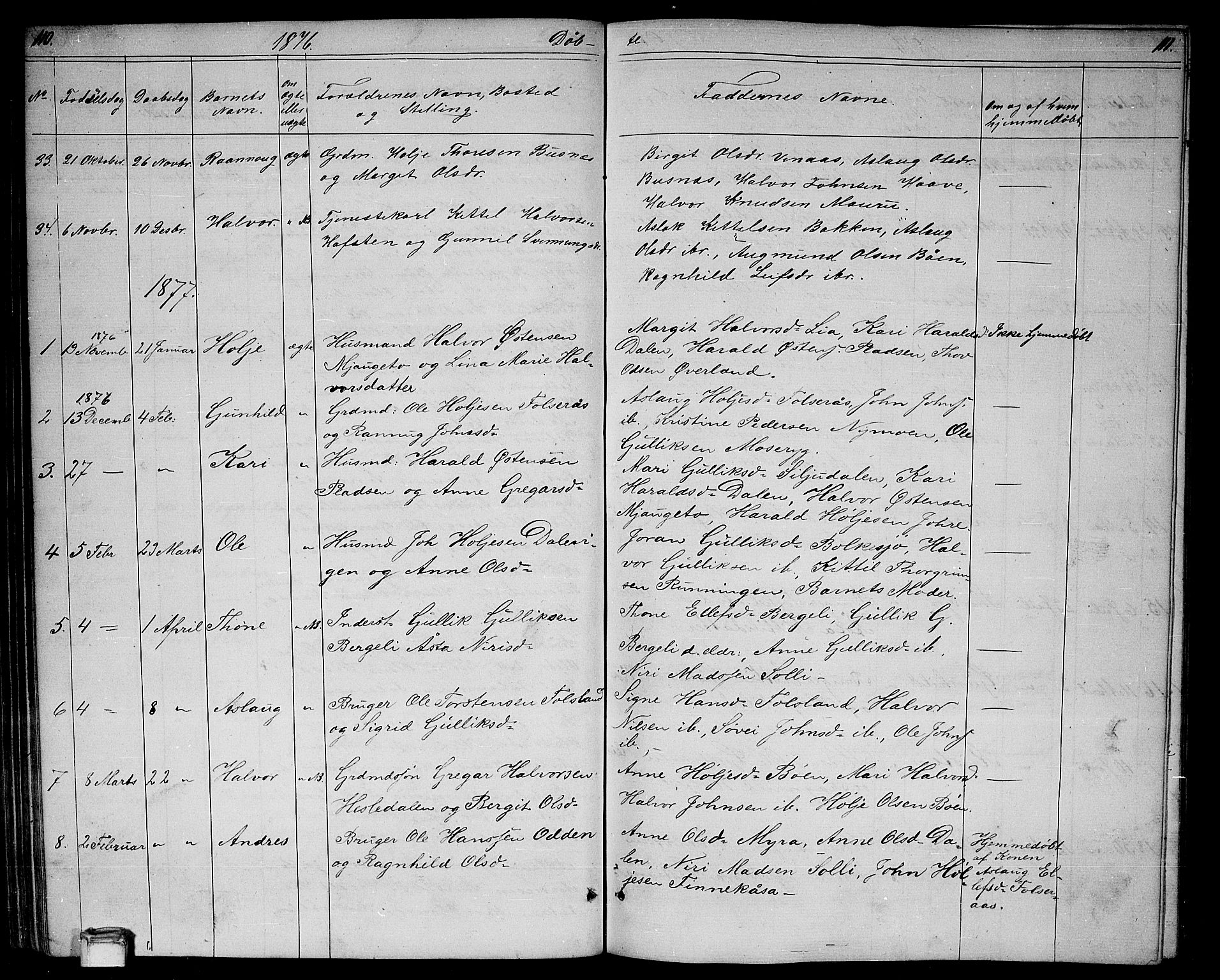 SAKO, Gransherad kirkebøker, G/Ga/L0002: Klokkerbok nr. I 2, 1854-1886, s. 110-111