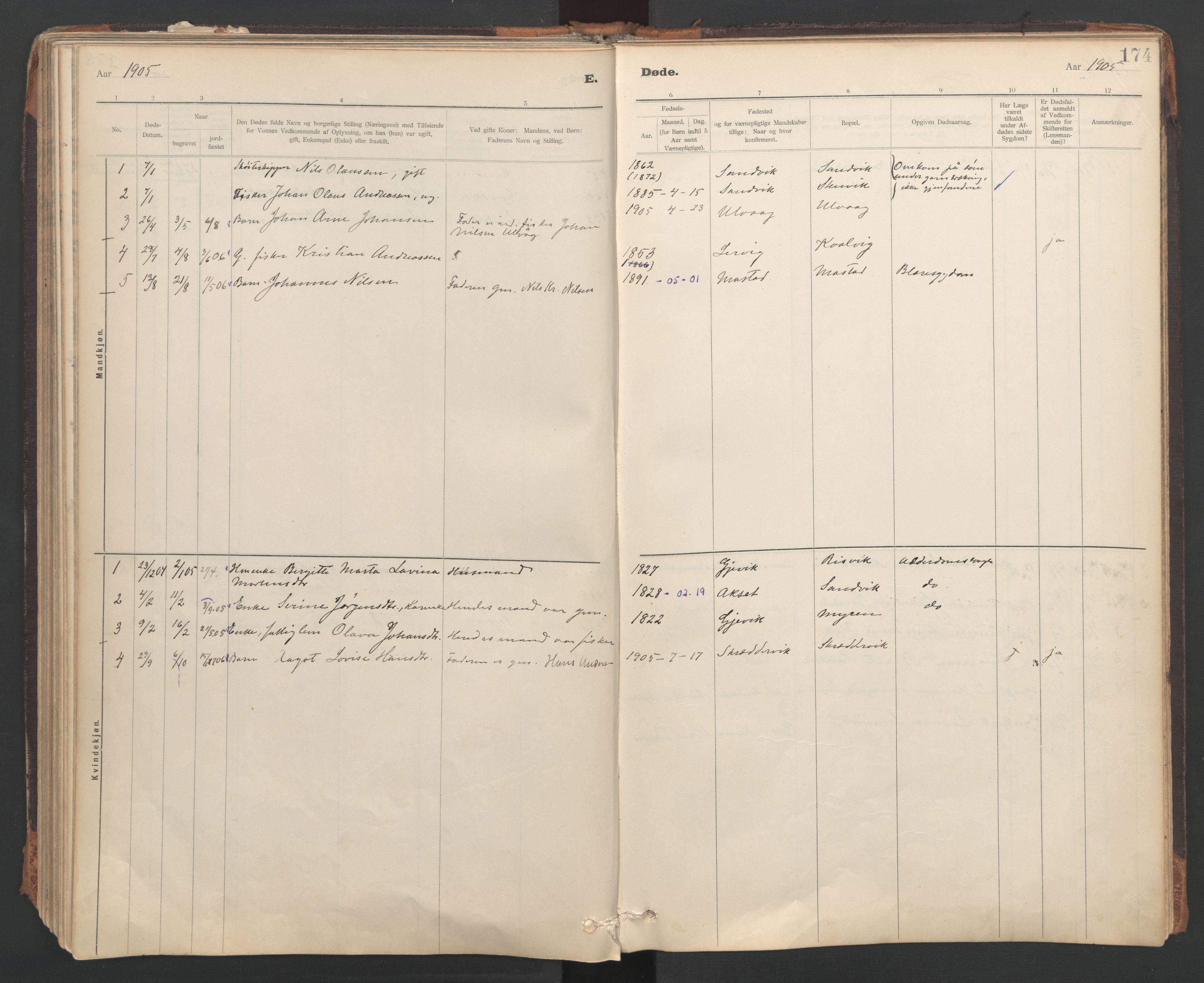 SAT, Ministerialprotokoller, klokkerbøker og fødselsregistre - Sør-Trøndelag, 637/L0559: Ministerialbok nr. 637A02, 1899-1923, s. 174