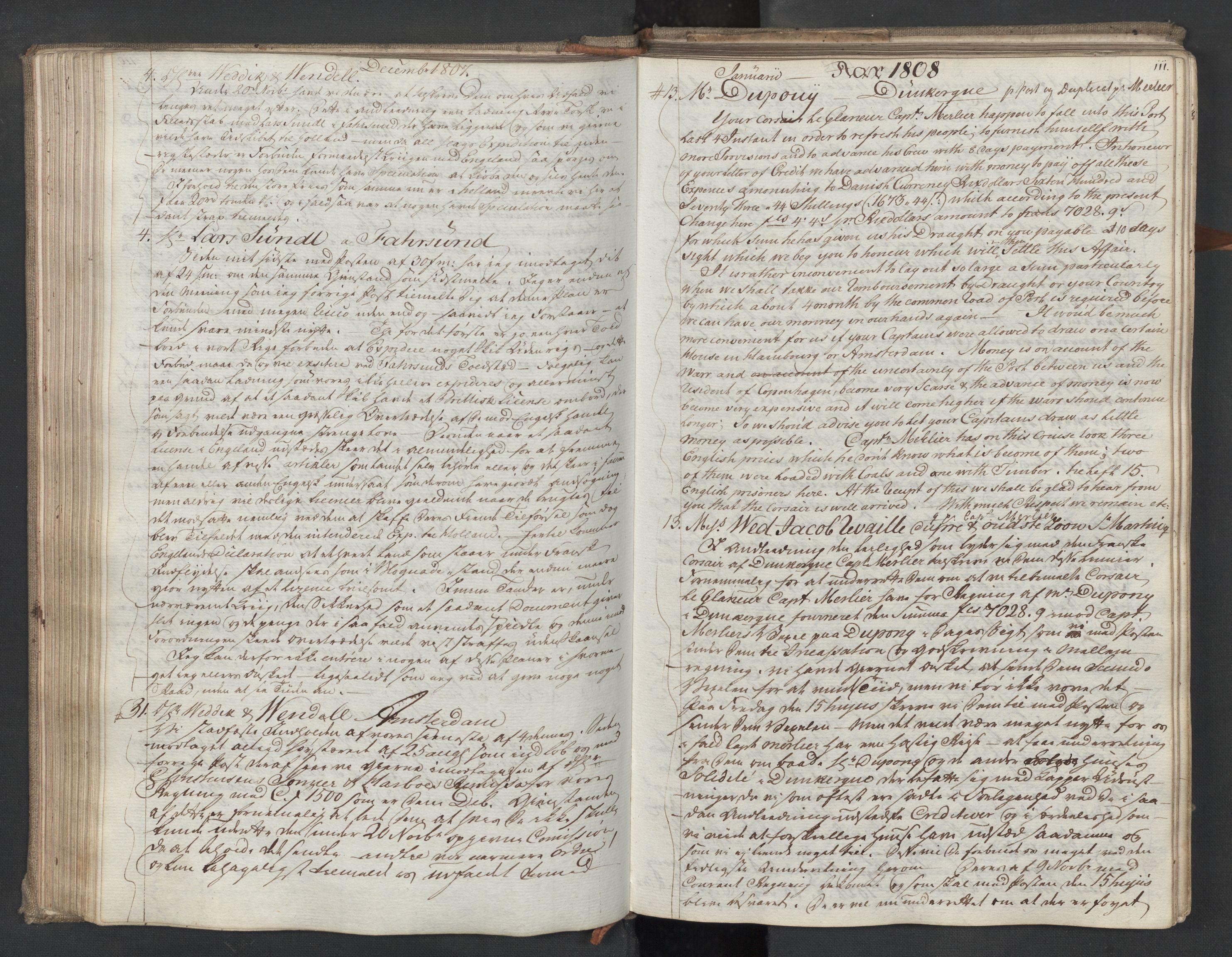 SAST, Pa 0003 - Ploug & Sundt, handelshuset, B/L0009: Kopibok, 1805-1816, s. 110b-111a