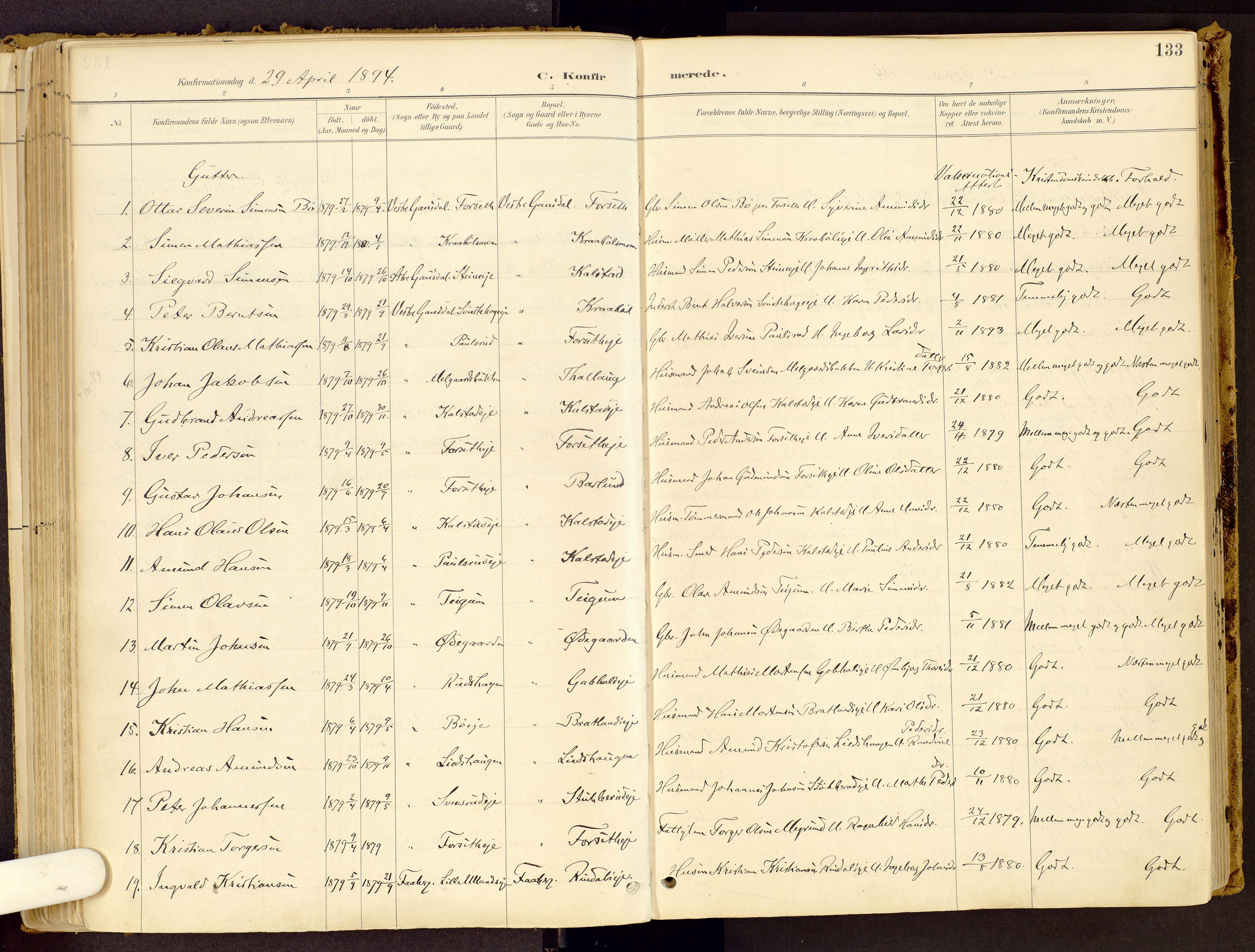 SAH, Vestre Gausdal prestekontor, Ministerialbok nr. 1, 1887-1914, s. 133