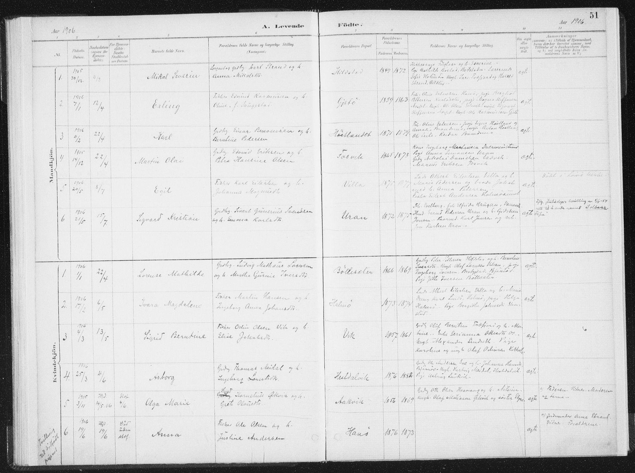SAT, Ministerialprotokoller, klokkerbøker og fødselsregistre - Nord-Trøndelag, 771/L0597: Ministerialbok nr. 771A04, 1885-1910, s. 51