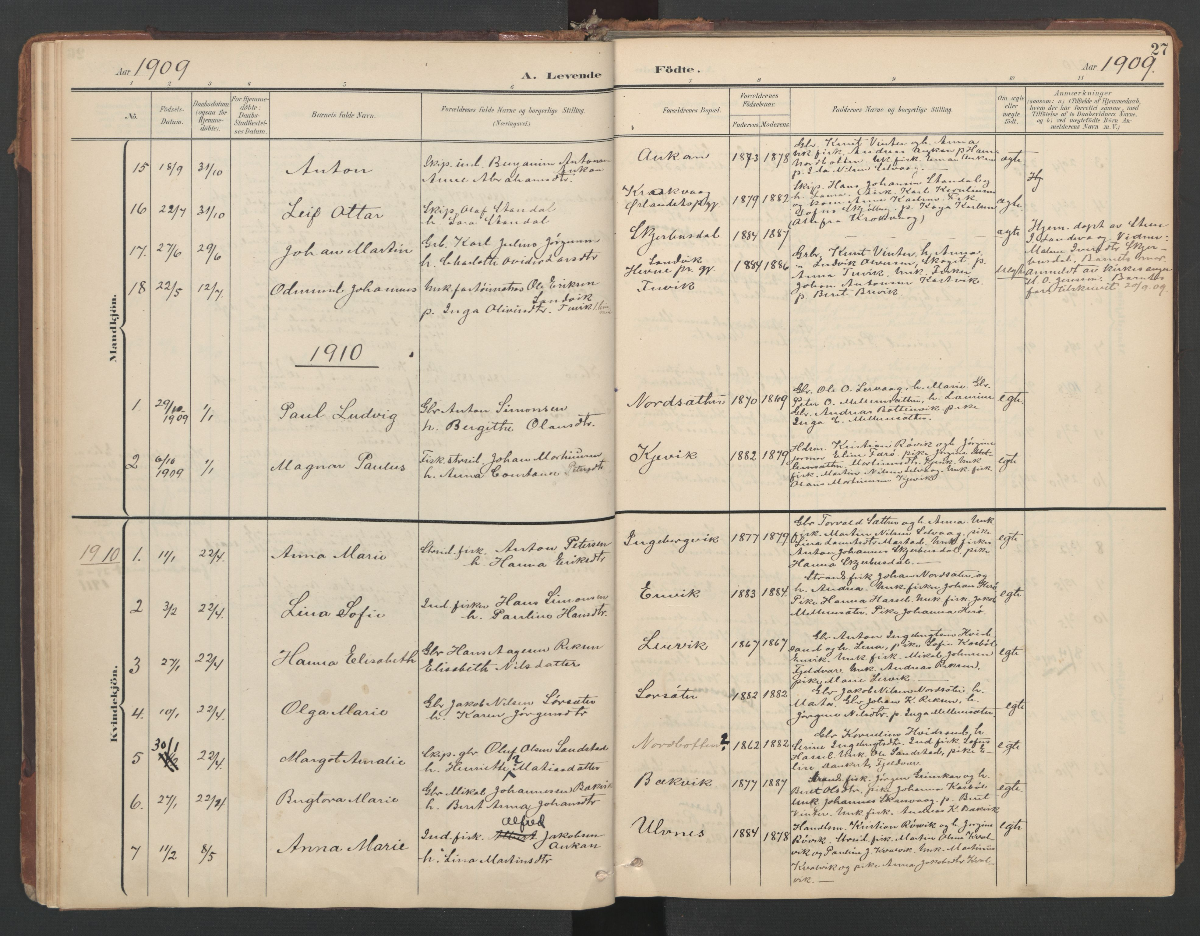 SAT, Ministerialprotokoller, klokkerbøker og fødselsregistre - Sør-Trøndelag, 638/L0568: Ministerialbok nr. 638A01, 1901-1916, s. 27