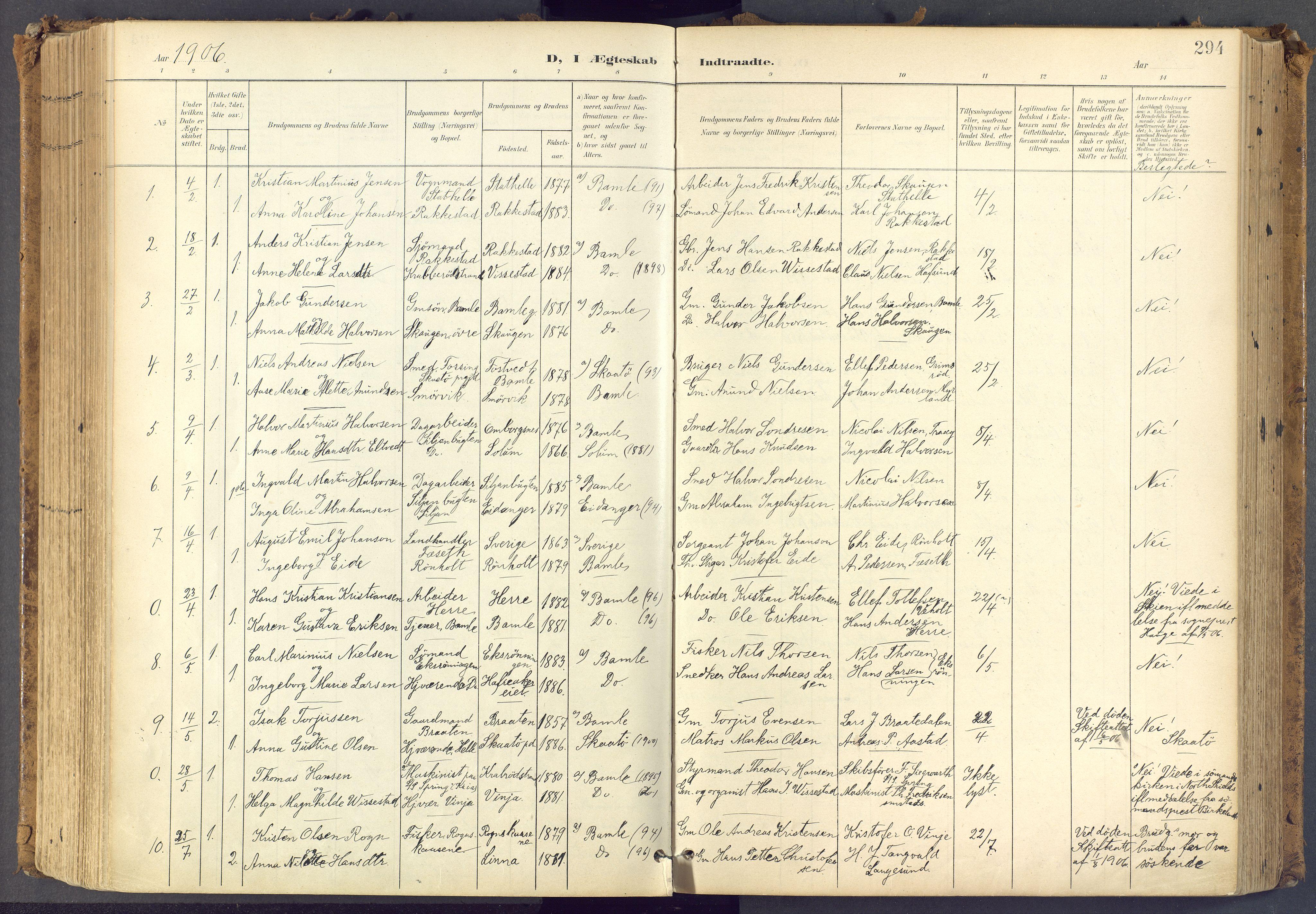 SAKO, Bamble kirkebøker, F/Fa/L0009: Ministerialbok nr. I 9, 1901-1917, s. 294