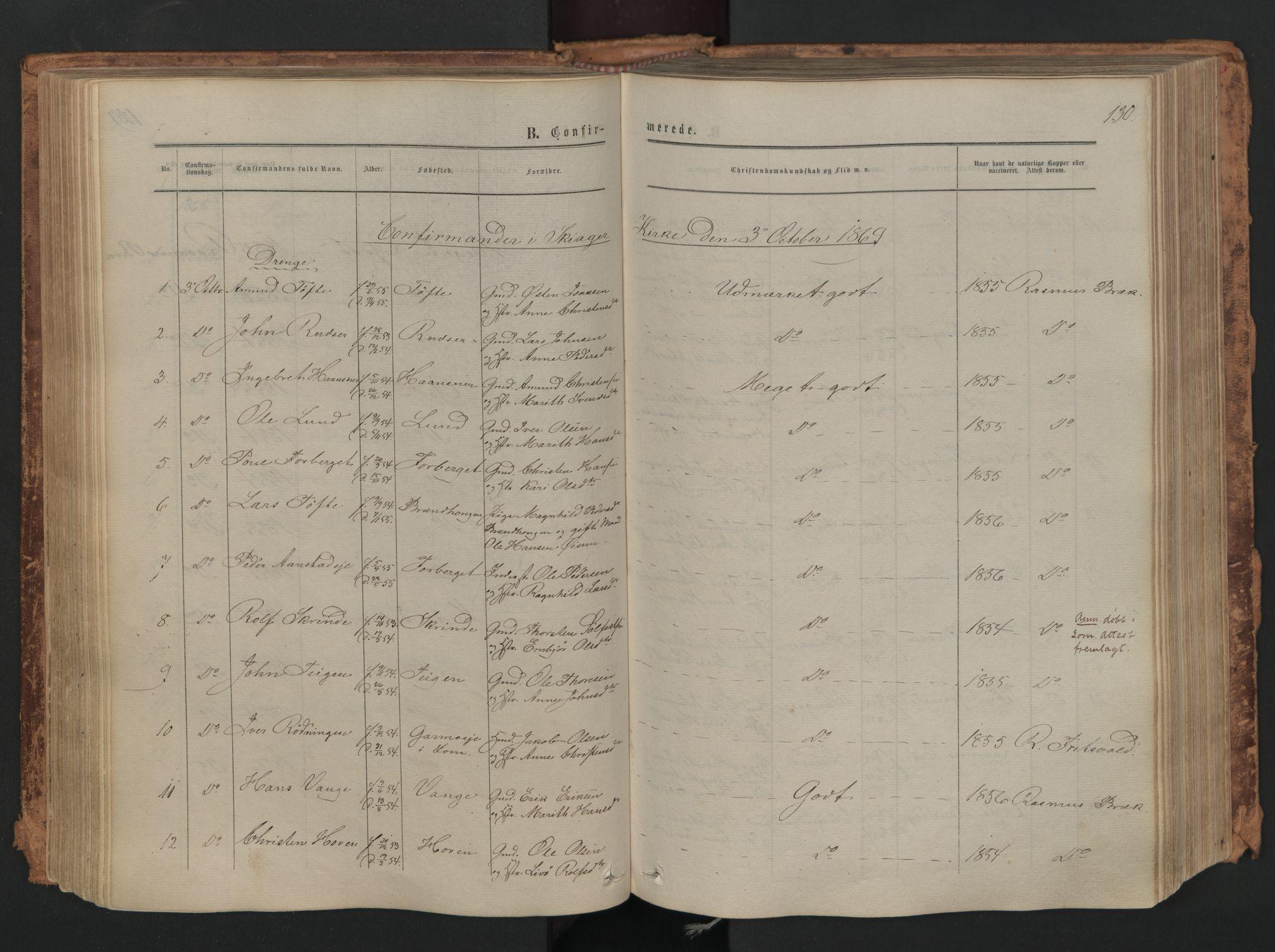 SAH, Skjåk prestekontor, Ministerialbok nr. 1, 1863-1879, s. 130