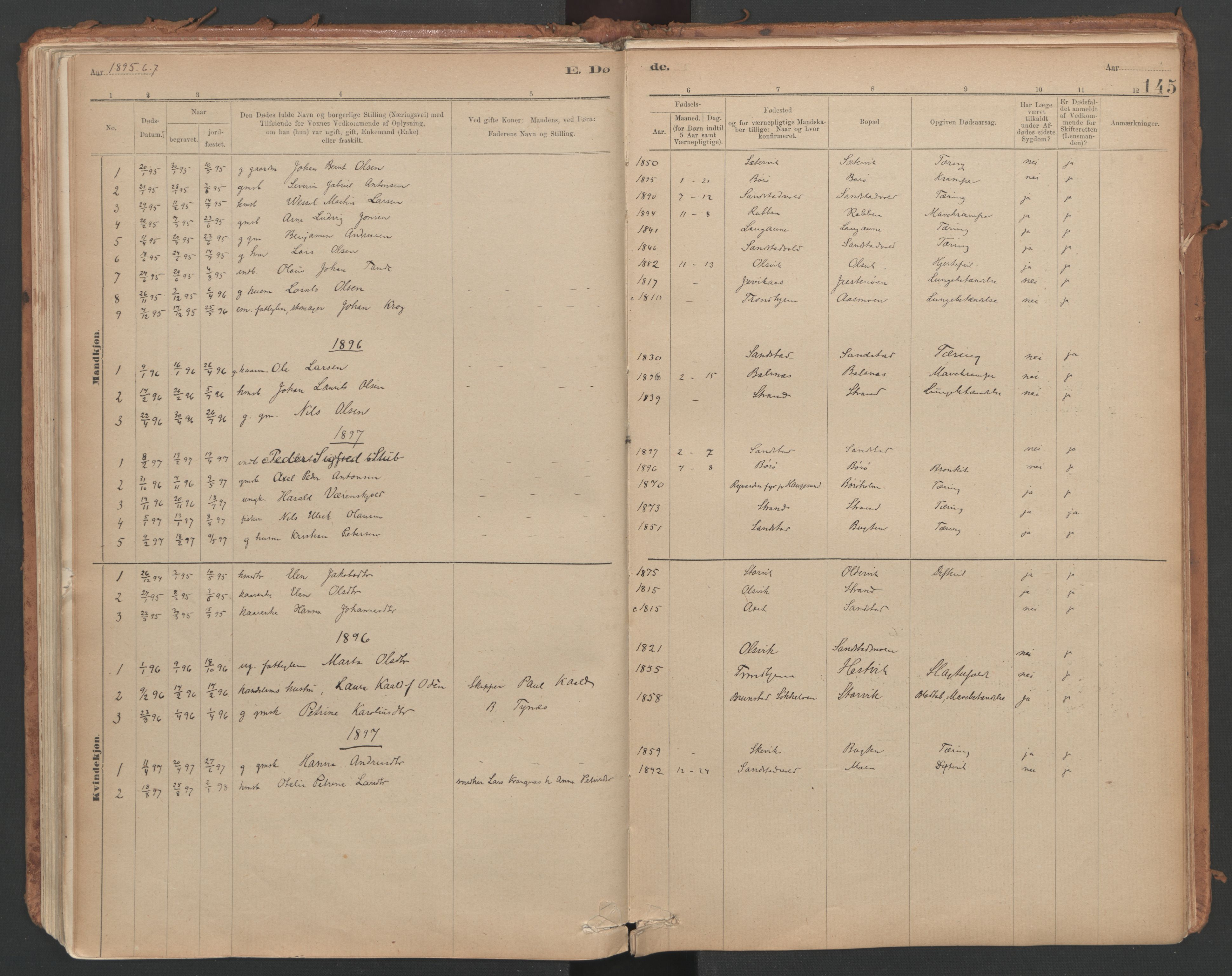 SAT, Ministerialprotokoller, klokkerbøker og fødselsregistre - Sør-Trøndelag, 639/L0572: Ministerialbok nr. 639A01, 1890-1920, s. 145