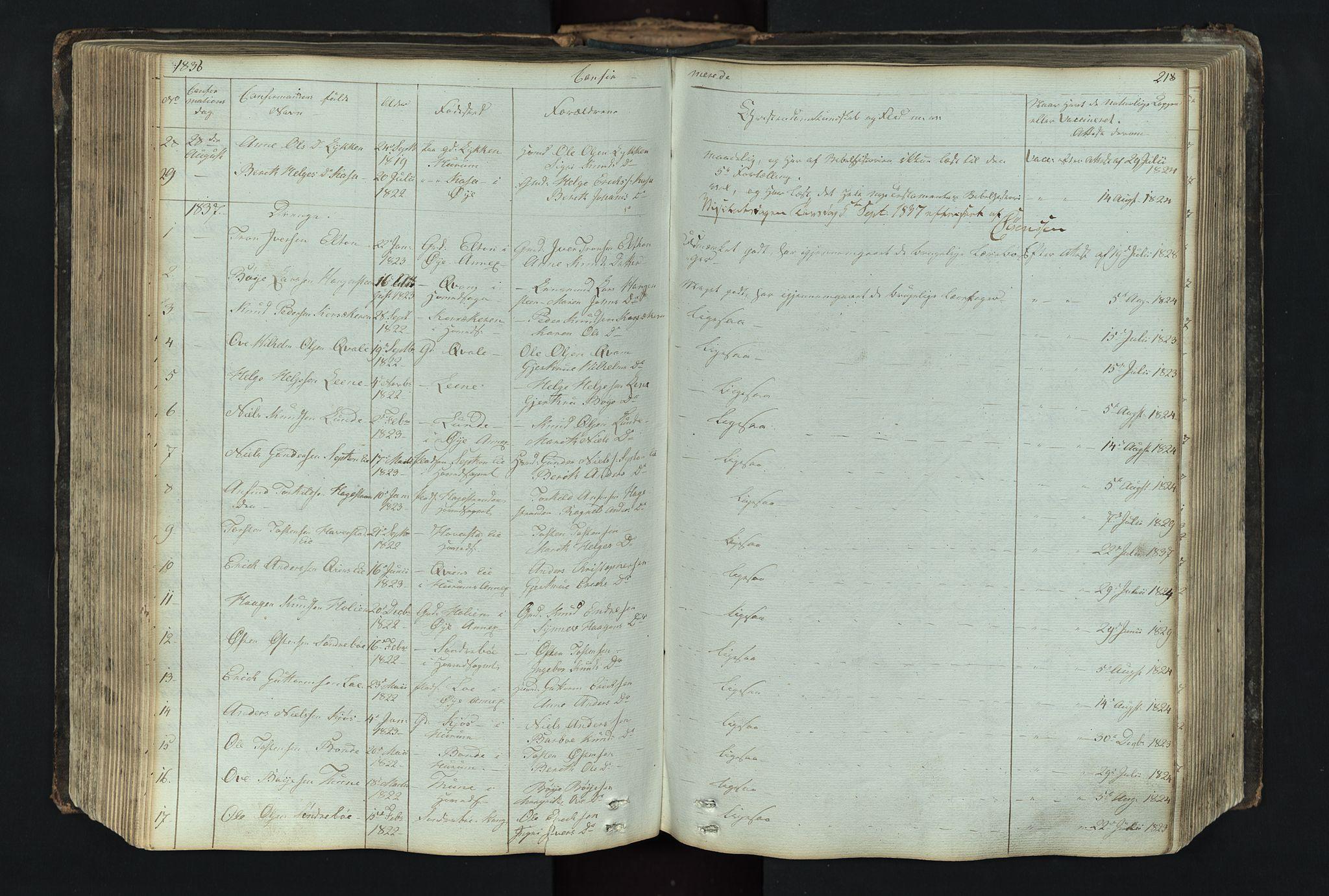 SAH, Vang prestekontor, Valdres, Klokkerbok nr. 4, 1835-1892, s. 218