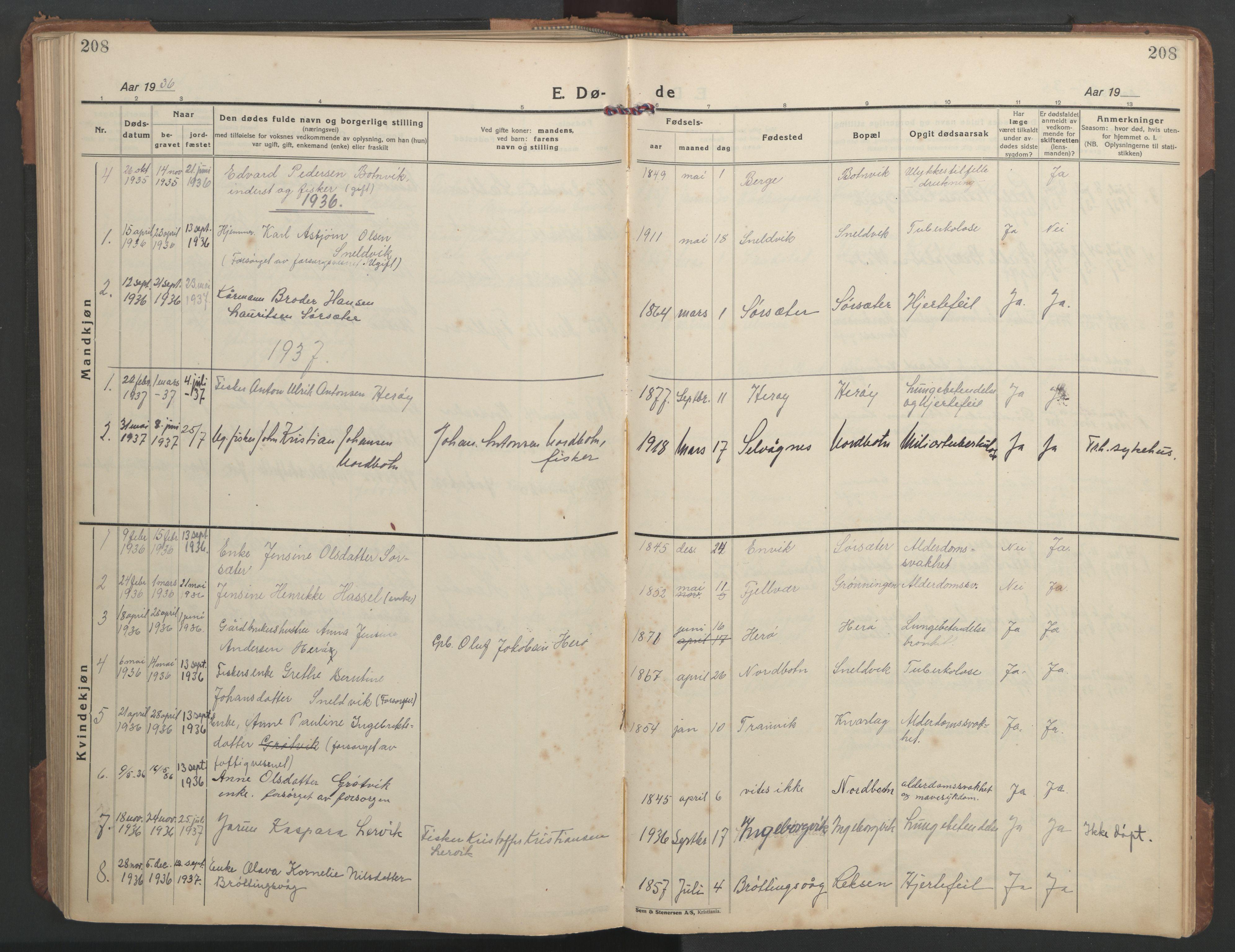 SAT, Ministerialprotokoller, klokkerbøker og fødselsregistre - Sør-Trøndelag, 638/L0569: Klokkerbok nr. 638C01, 1923-1961, s. 208