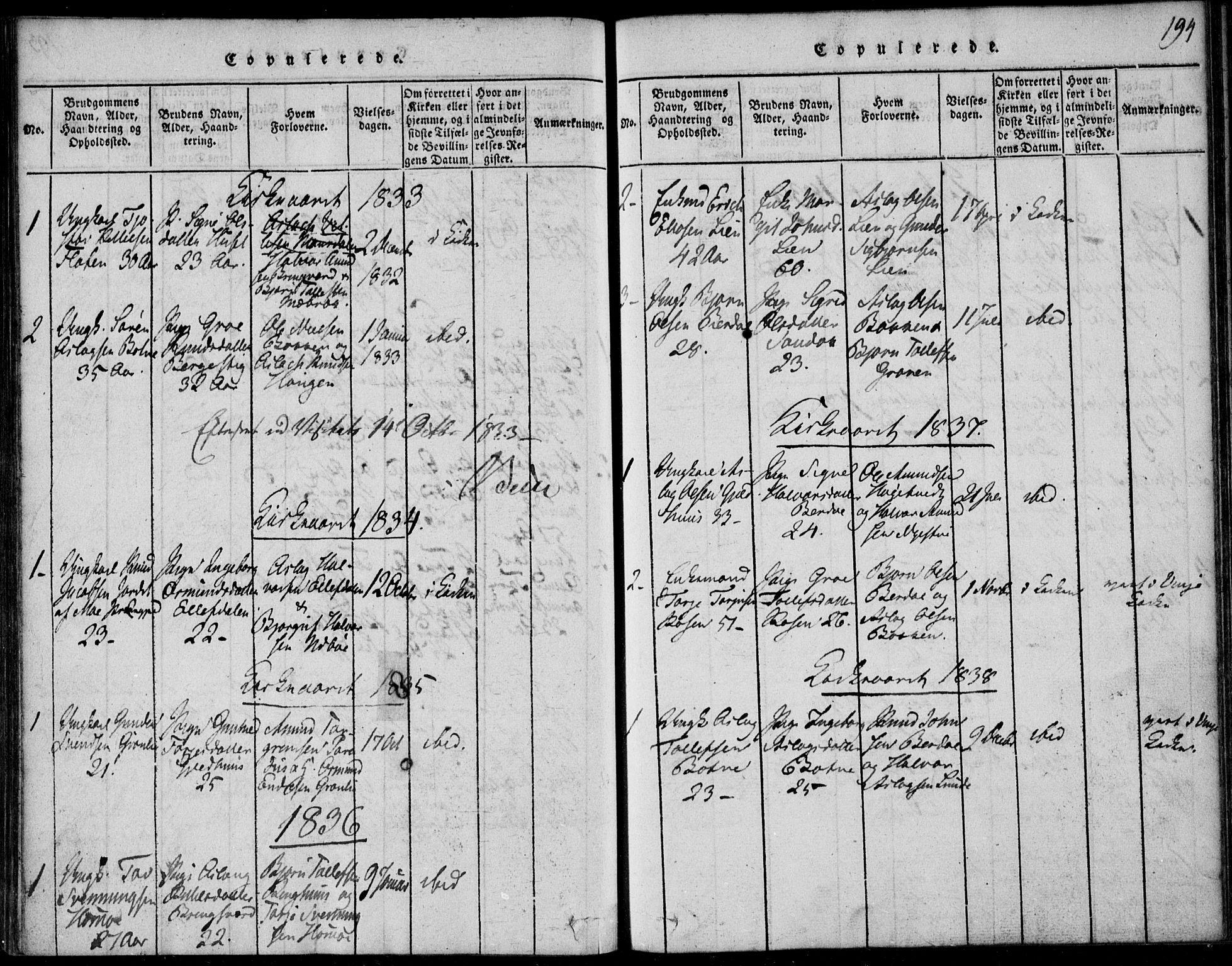 SAKO, Vinje kirkebøker, F/Fb/L0001: Ministerialbok nr. II 1, 1814-1843, s. 194