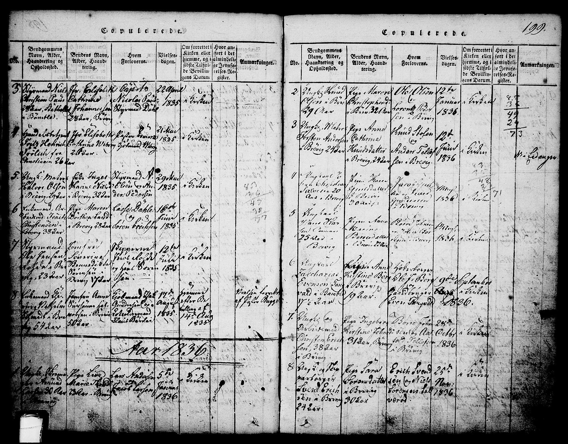 SAKO, Brevik kirkebøker, G/Ga/L0001: Klokkerbok nr. 1, 1814-1845, s. 199
