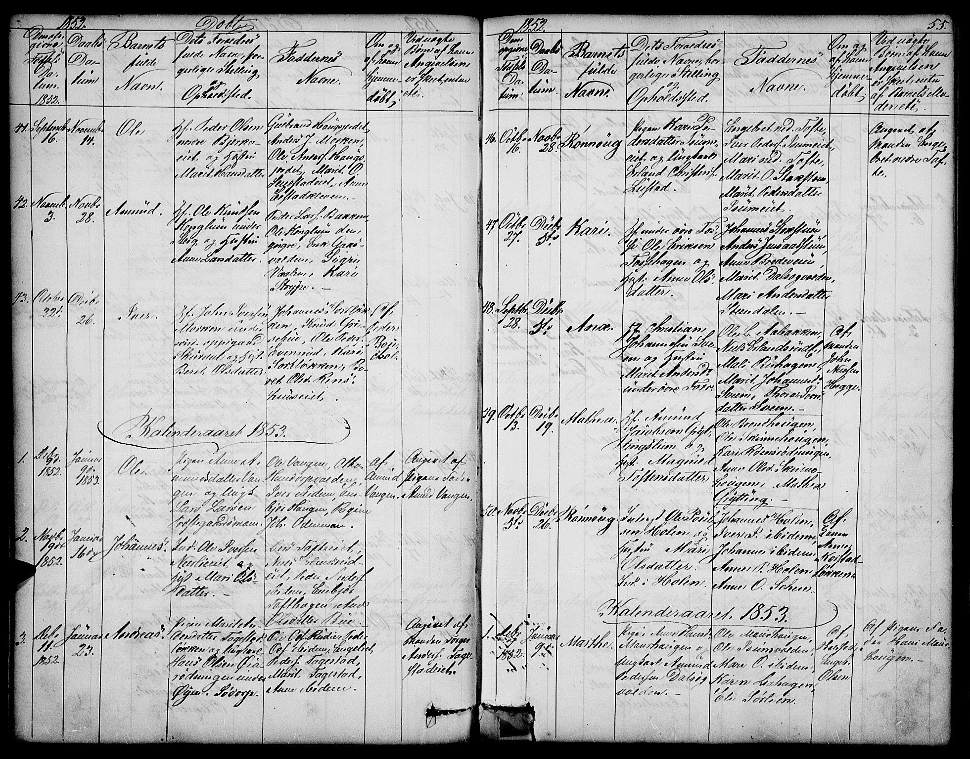 SAH, Sør-Fron prestekontor, H/Ha/Hab/L0001: Klokkerbok nr. 1, 1844-1863, s. 55