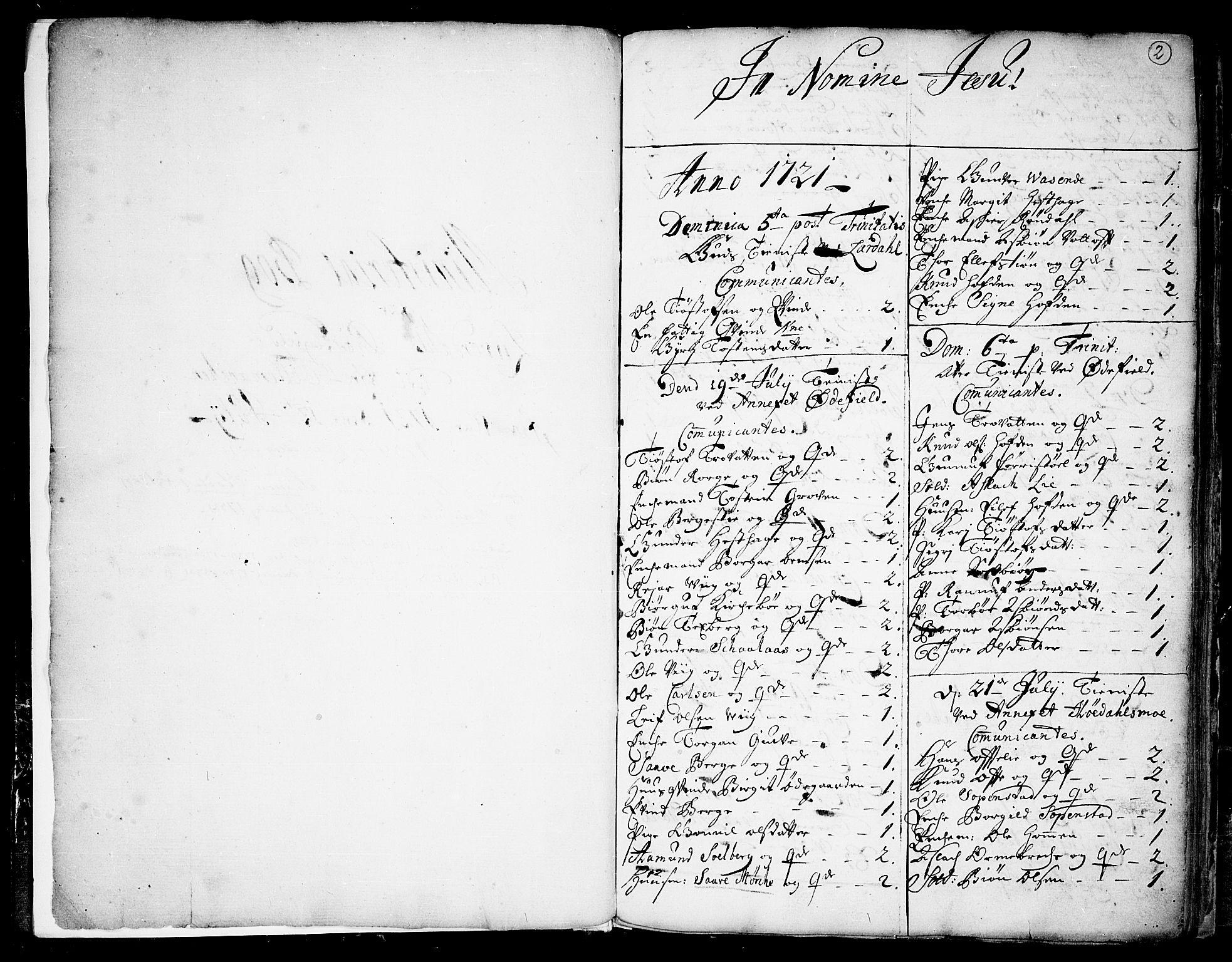 SAKO, Lårdal kirkebøker, F/Fa/L0001: Ministerialbok nr. I 1, 1721-1734, s. 2