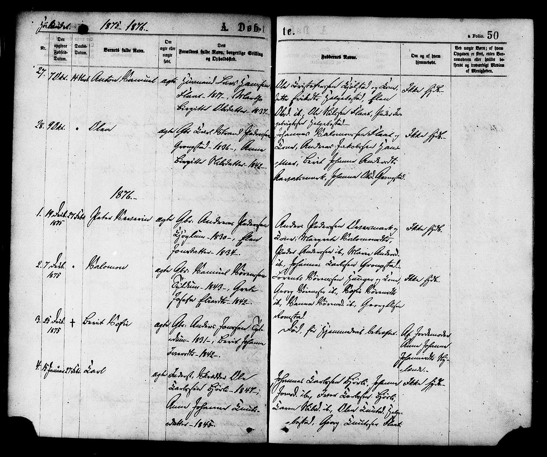 SAT, Ministerialprotokoller, klokkerbøker og fødselsregistre - Nord-Trøndelag, 758/L0516: Ministerialbok nr. 758A03 /2, 1869-1879, s. 50