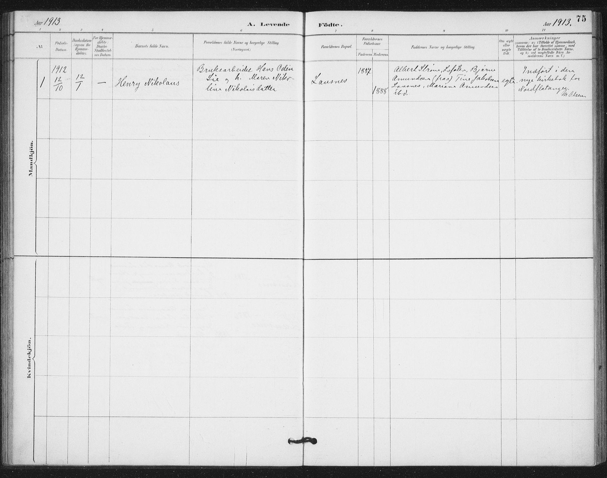 SAT, Ministerialprotokoller, klokkerbøker og fødselsregistre - Nord-Trøndelag, 772/L0603: Ministerialbok nr. 772A01, 1885-1912, s. 75