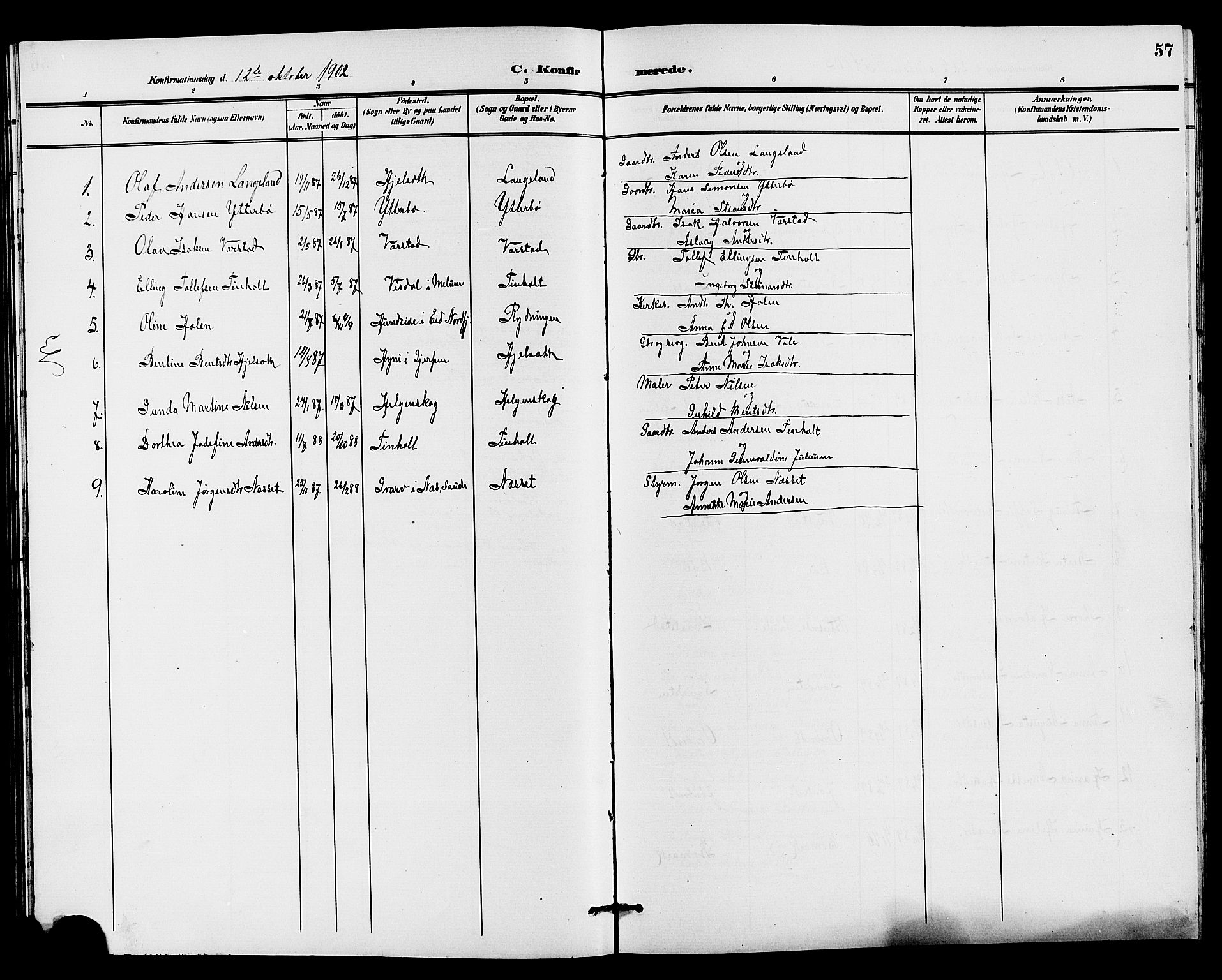 SAKO, Holla kirkebøker, G/Gb/L0002: Klokkerbok nr. II 2, 1897-1913, s. 57