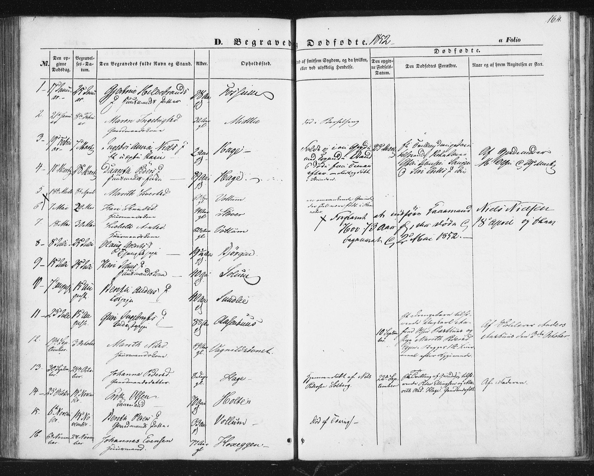 SAT, Ministerialprotokoller, klokkerbøker og fødselsregistre - Sør-Trøndelag, 689/L1038: Ministerialbok nr. 689A03, 1848-1872, s. 164