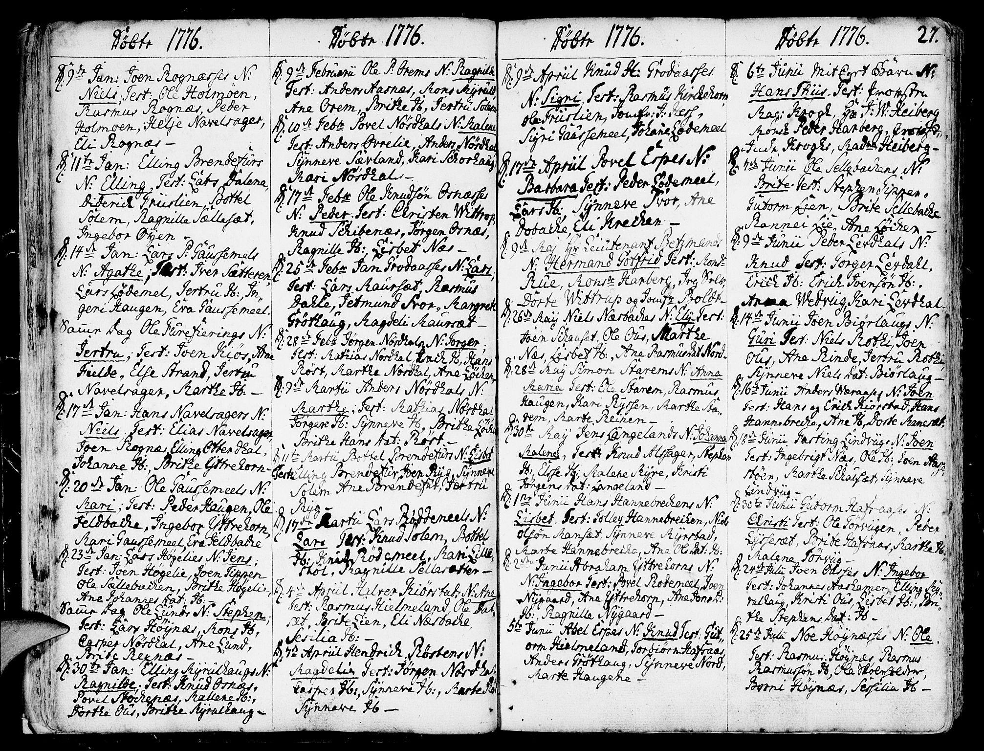 SAB, Eid Sokneprestembete, H/Haa: Ministerialbok nr. A 3, 1770-1805, s. 27