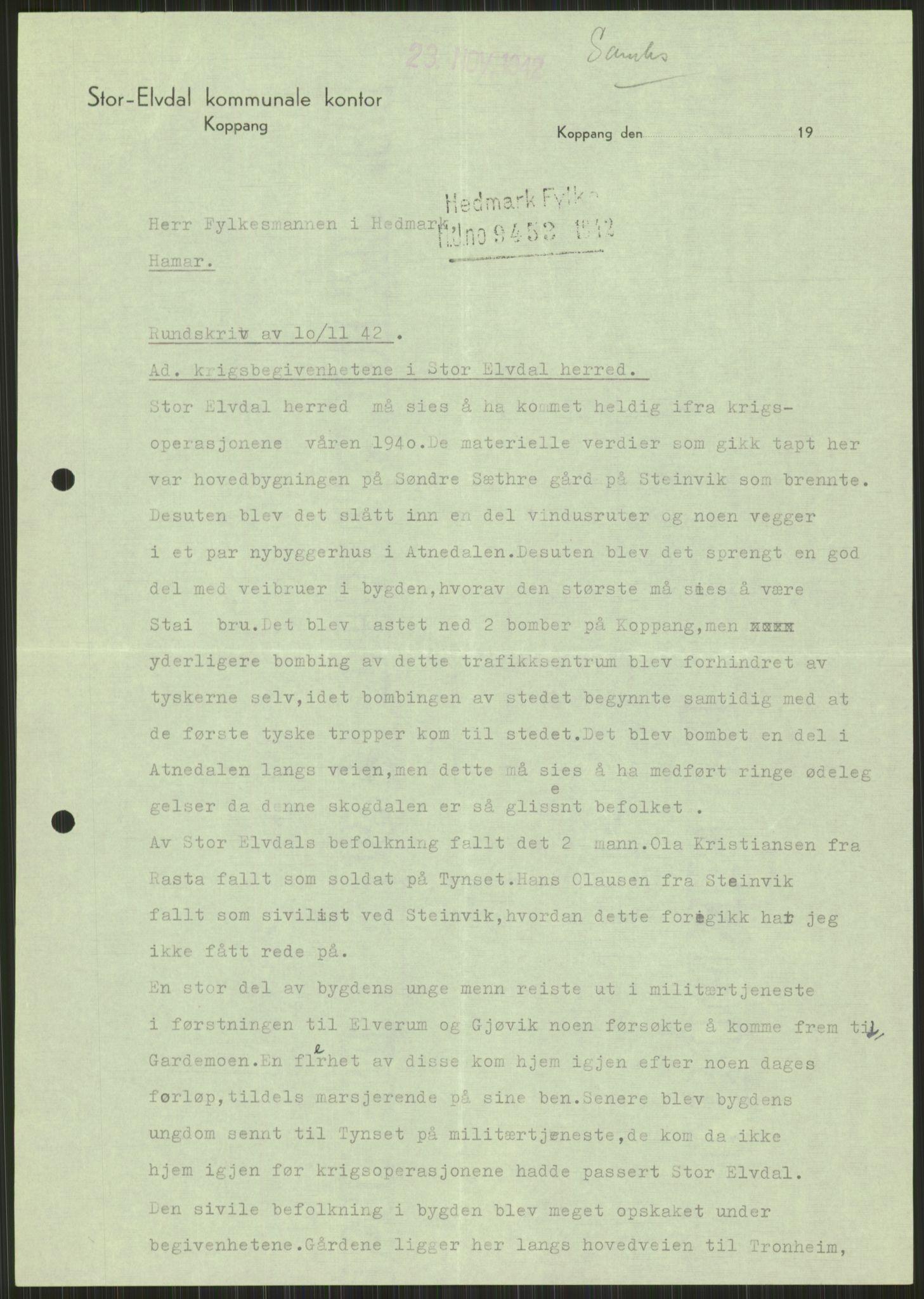 RA, Forsvaret, Forsvarets krigshistoriske avdeling, Y/Ya/L0013: II-C-11-31 - Fylkesmenn.  Rapporter om krigsbegivenhetene 1940., 1940, s. 976