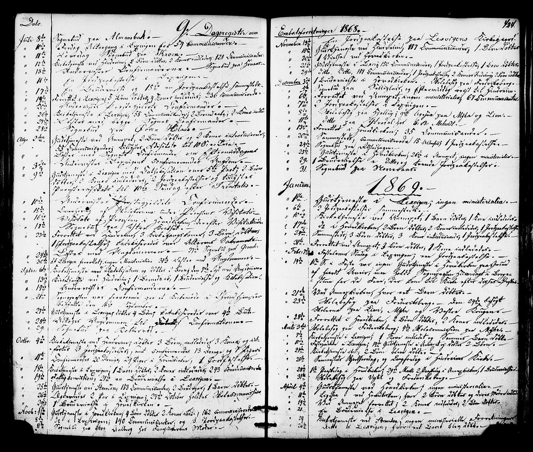 SAT, Ministerialprotokoller, klokkerbøker og fødselsregistre - Nord-Trøndelag, 701/L0009: Ministerialbok nr. 701A09 /1, 1864-1882, s. 424