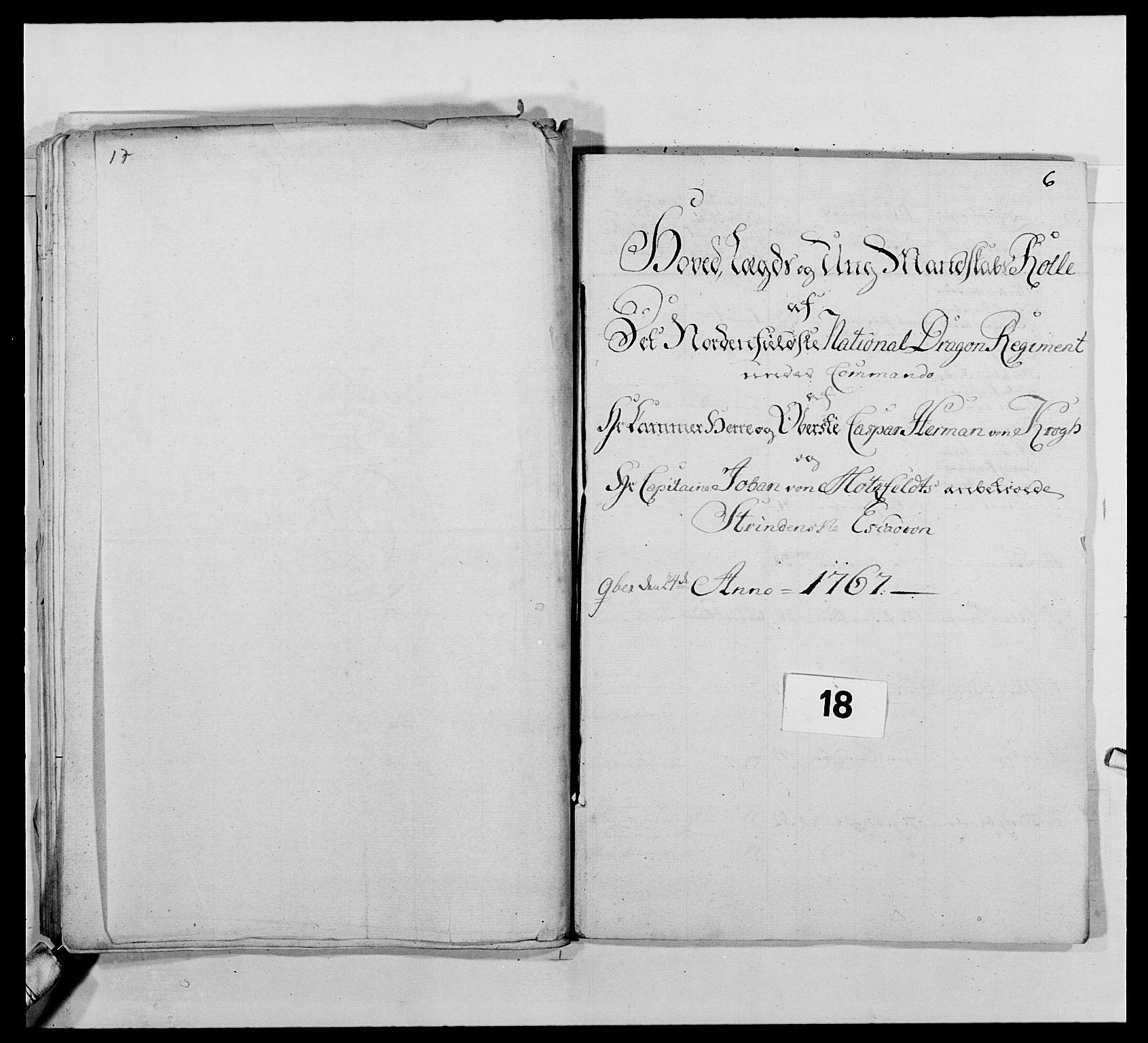 RA, Kommanderende general (KG I) med Det norske krigsdirektorium, E/Ea/L0483: Nordafjelske dragonregiment, 1765-1767, s. 425