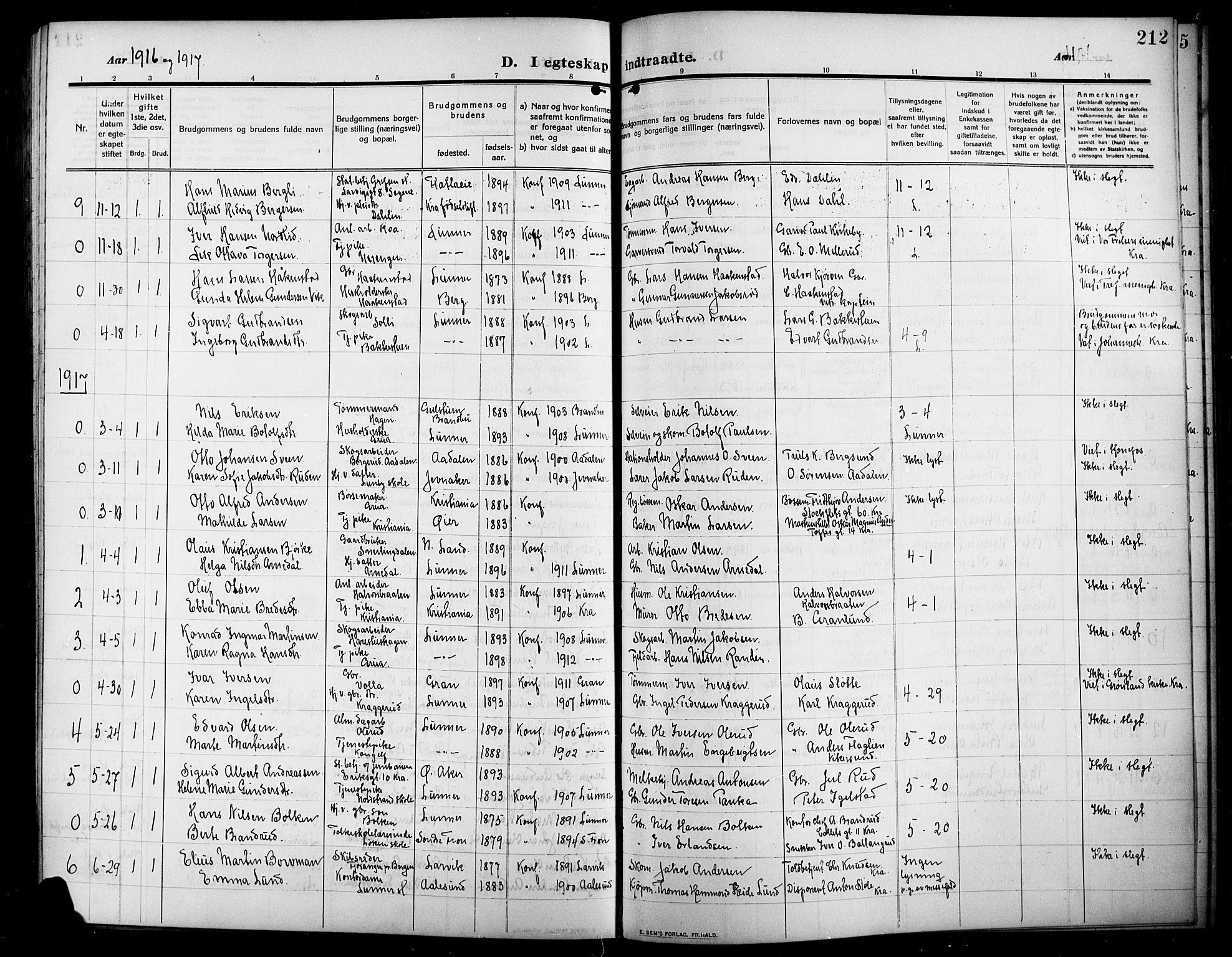 SAH, Lunner prestekontor, H/Ha/Hab/L0001: Klokkerbok nr. 1, 1909-1922, s. 212