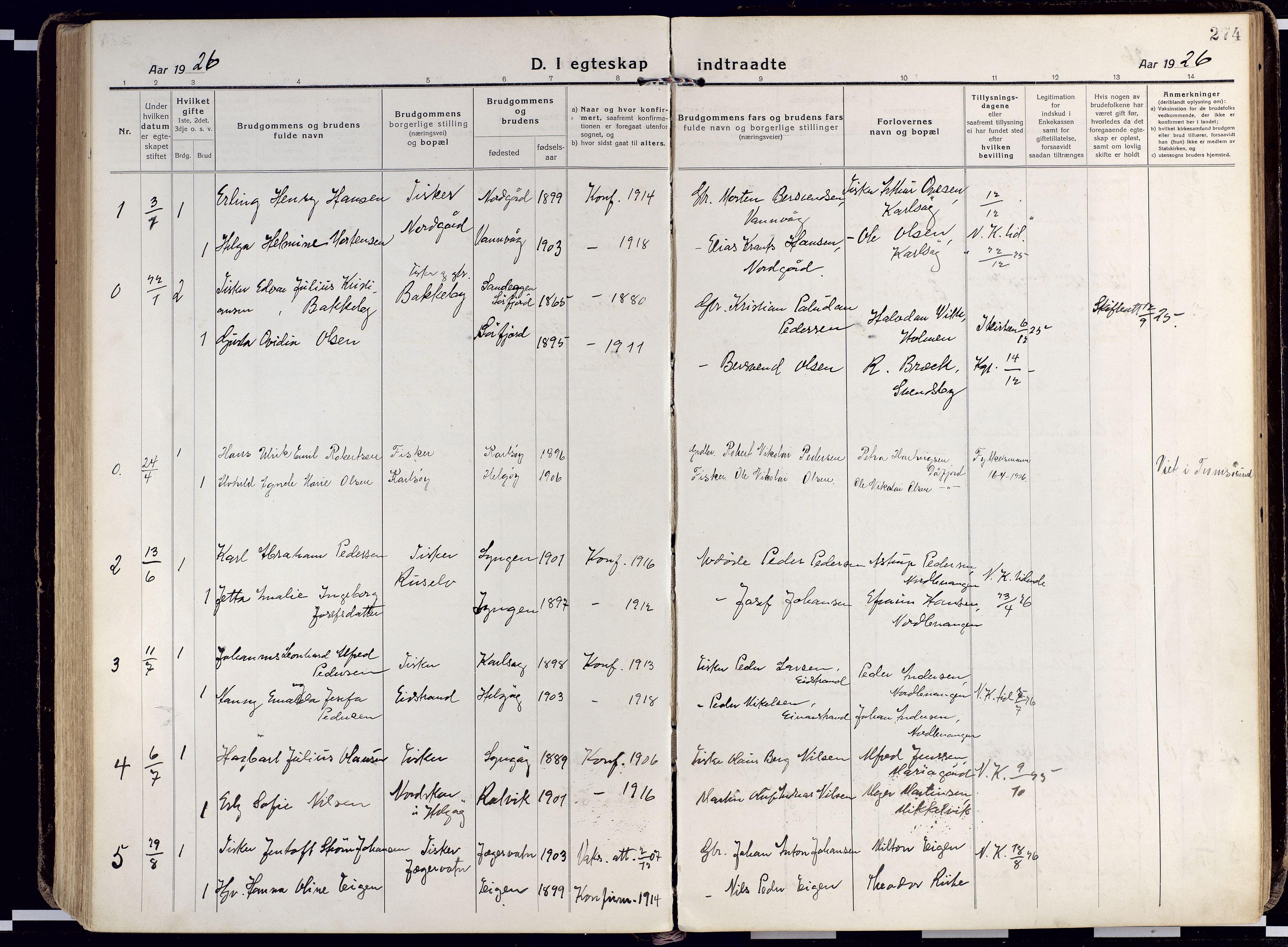 SATØ, Karlsøy sokneprestembete, Ministerialbok nr. 15, 1918-1929, s. 274