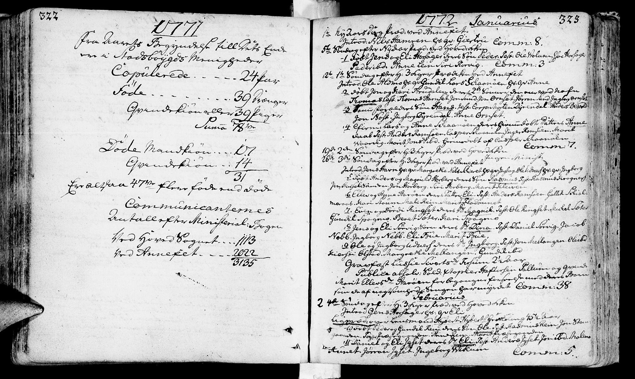 SAT, Ministerialprotokoller, klokkerbøker og fødselsregistre - Sør-Trøndelag, 646/L0605: Ministerialbok nr. 646A03, 1751-1790, s. 322-323