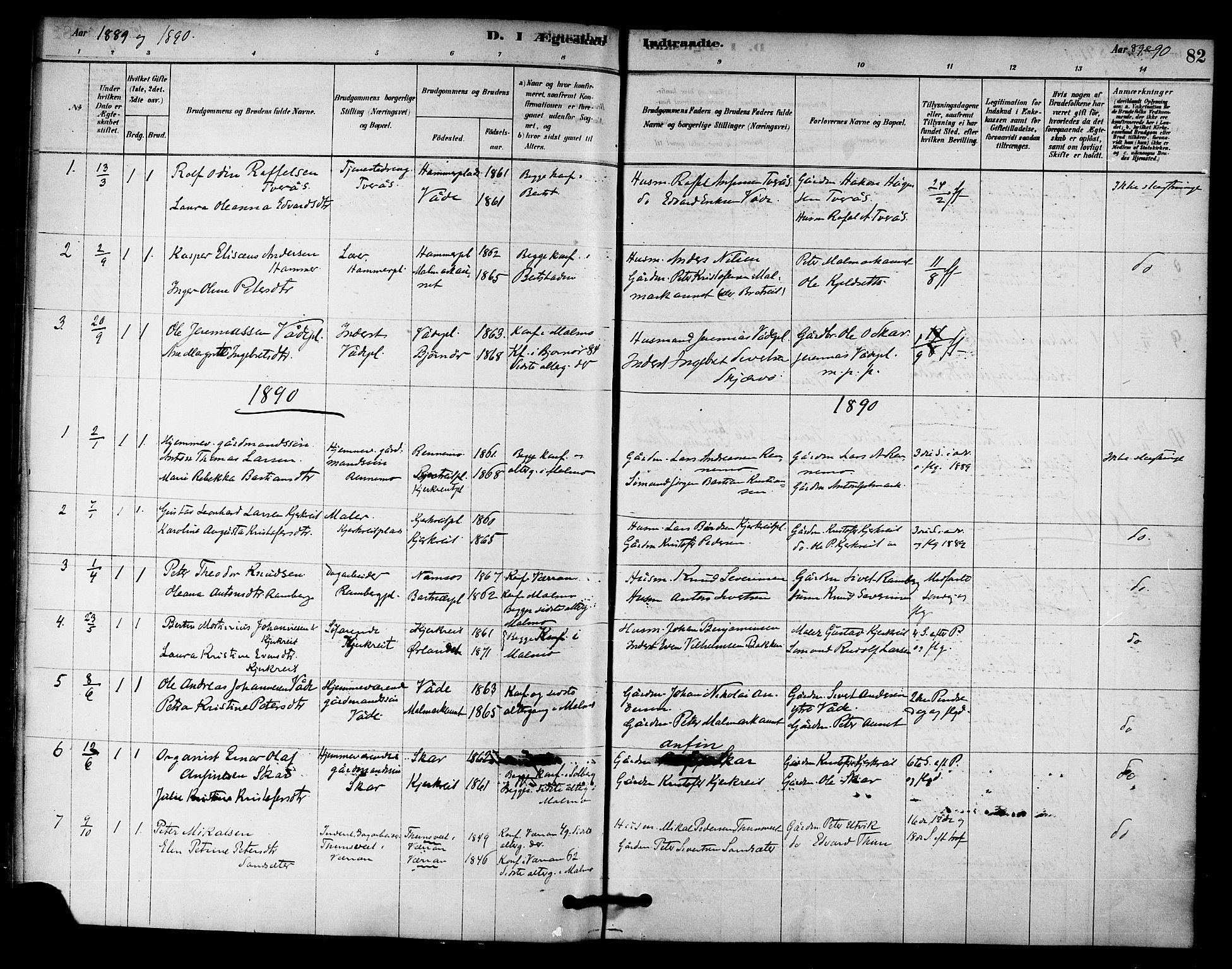 SAT, Ministerialprotokoller, klokkerbøker og fødselsregistre - Nord-Trøndelag, 745/L0429: Ministerialbok nr. 745A01, 1878-1894, s. 82