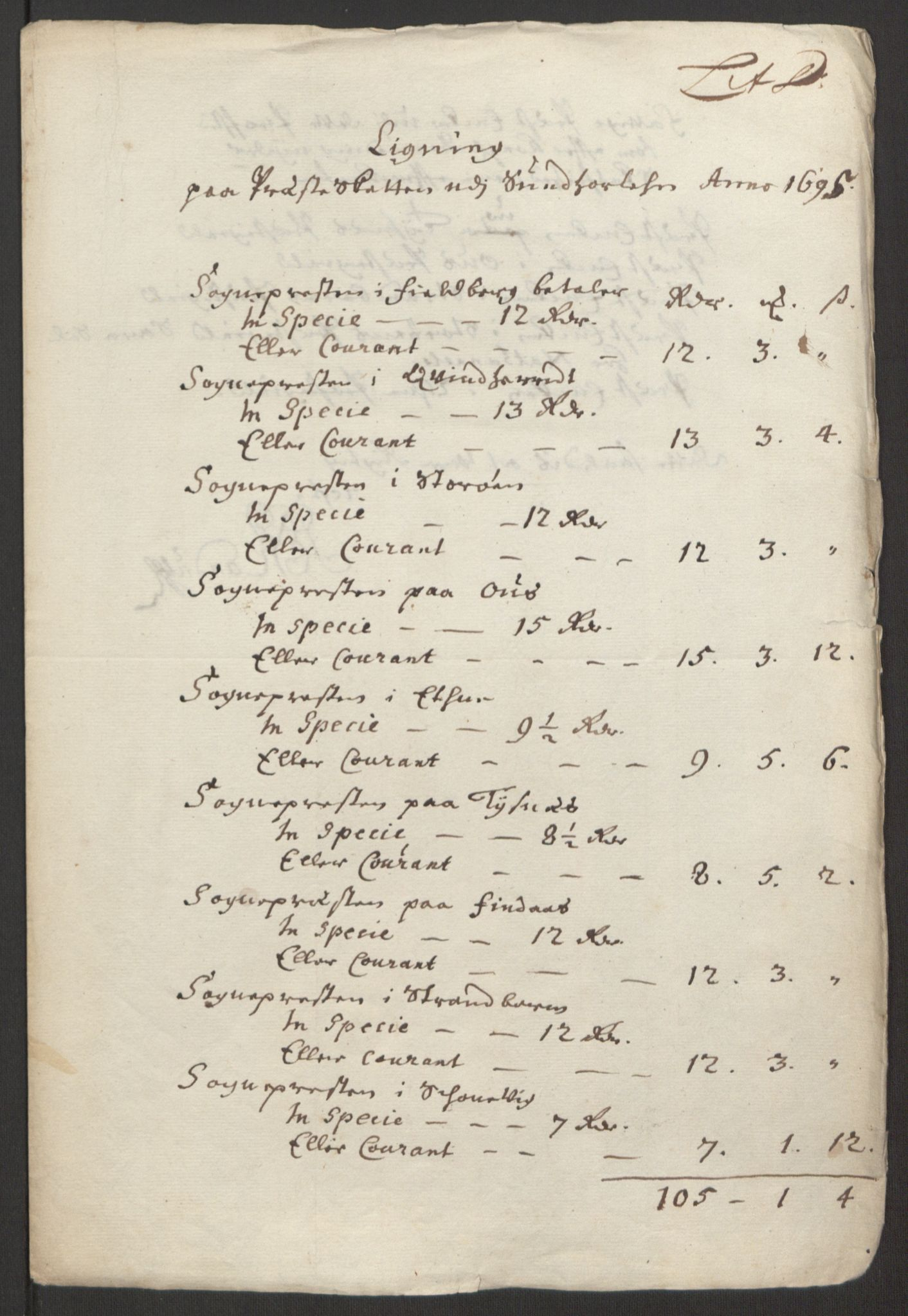RA, Rentekammeret inntil 1814, Reviderte regnskaper, Fogderegnskap, R48/L2976: Fogderegnskap Sunnhordland og Hardanger, 1695-1696, s. 98
