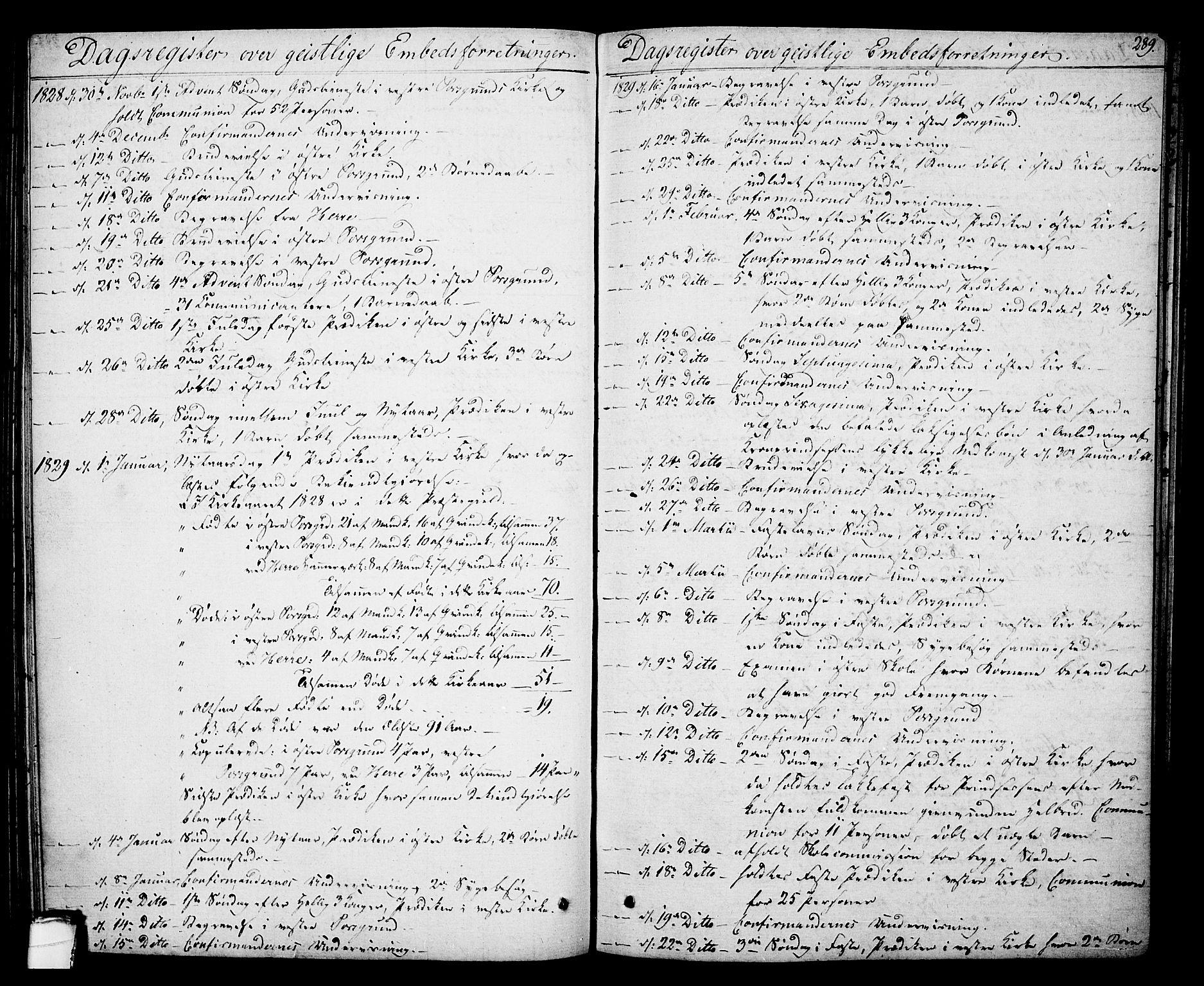 SAKO, Porsgrunn kirkebøker , F/Fa/L0005: Ministerialbok nr. 5, 1828-1840, s. 289