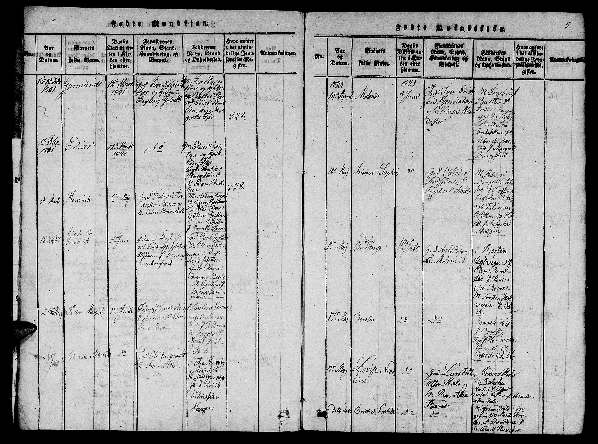 SAT, Ministerialprotokoller, klokkerbøker og fødselsregistre - Nord-Trøndelag, 770/L0588: Ministerialbok nr. 770A02, 1819-1823, s. 5