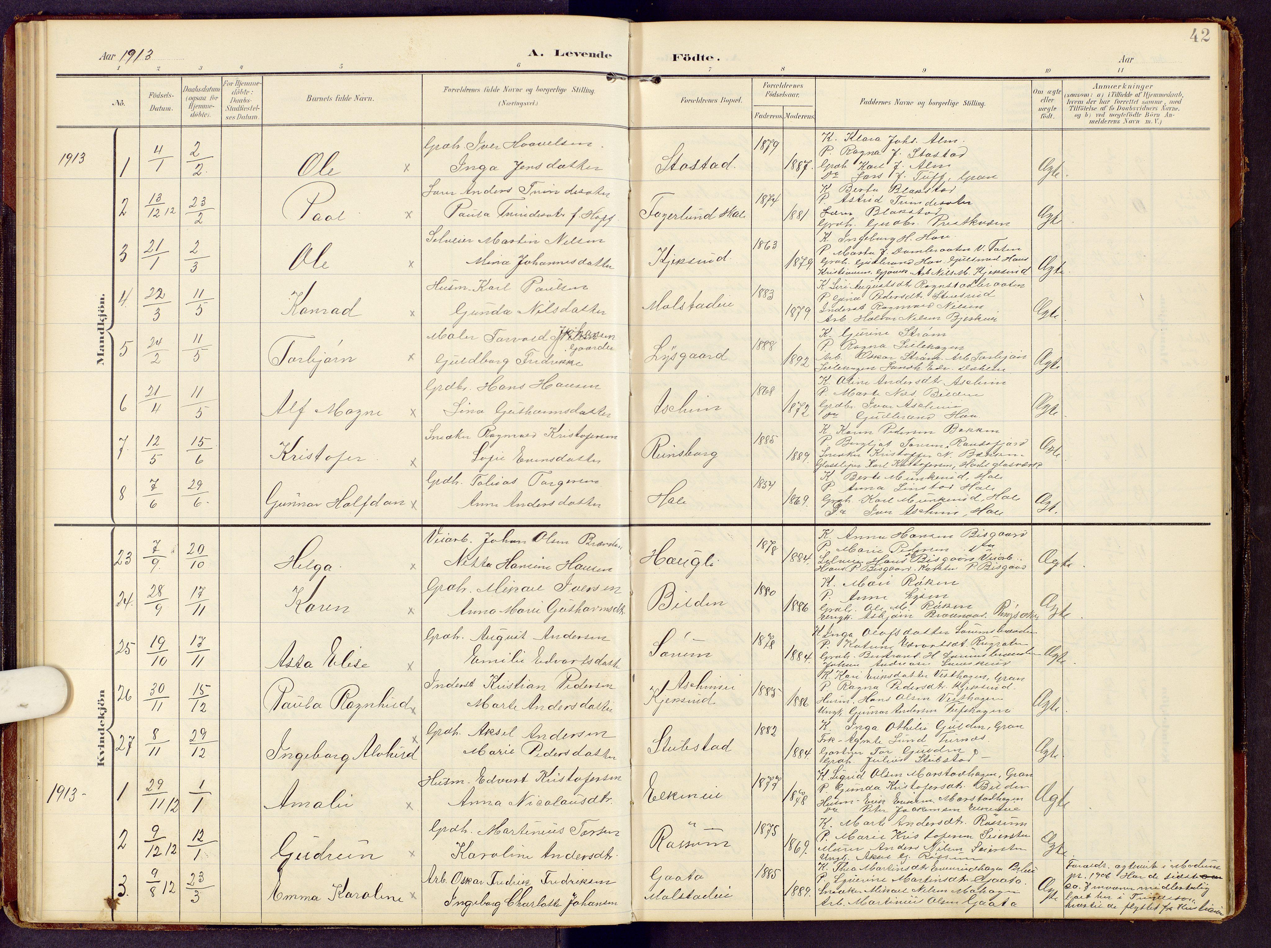 SAH, Brandbu prestekontor, Klokkerbok nr. 9, 1903-1916, s. 42